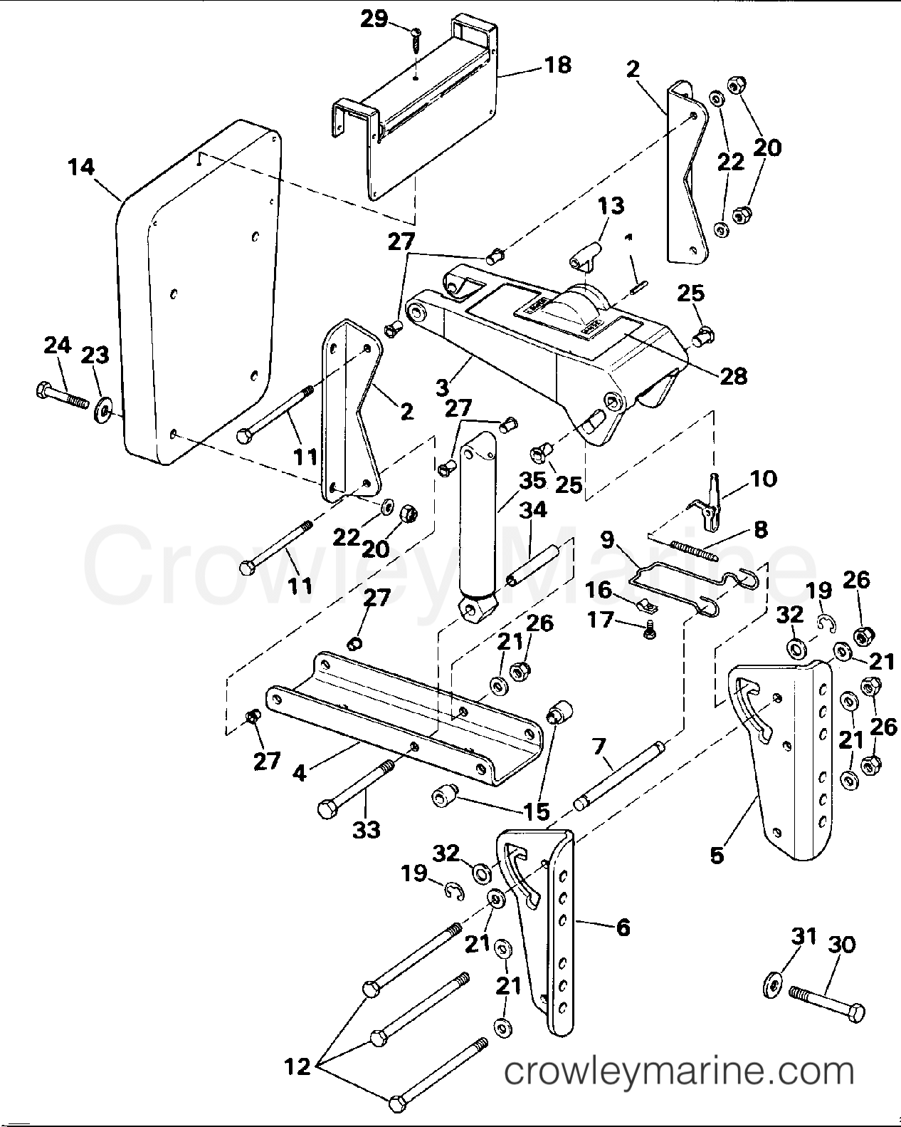 AUXILIARY MOTOR BRACKET KIT - 2 THRU 15
