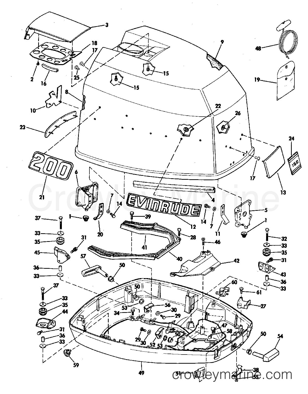 1981 Evinrude Outboards 150 - E150TRLCIA MOTOR COVER-EVINRUDE section