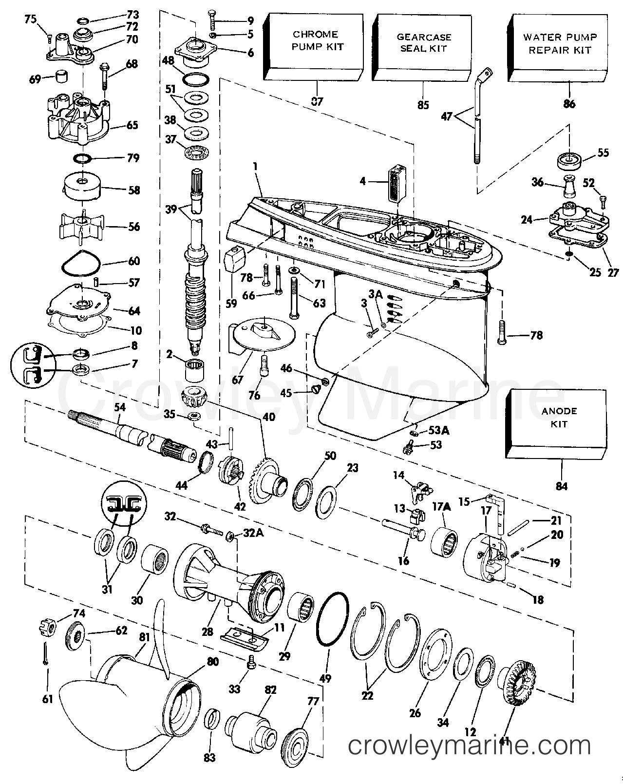 1986 Evinrude Outboards 120 - E120TLCDC GEARCASE section