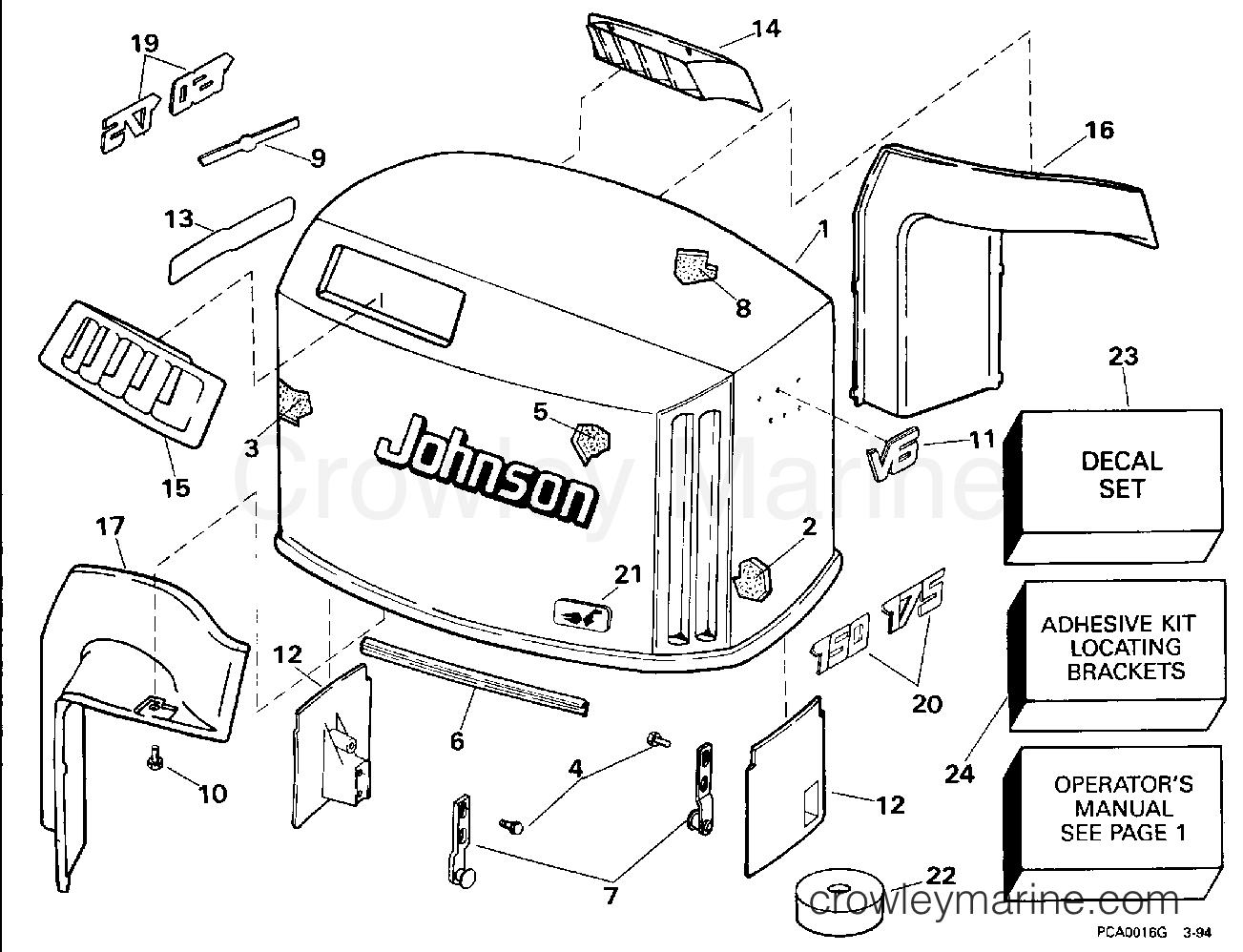 1994 OMC Quiet Rider 150 - 150SHLERC ENGINE COVER - JOHNSON section