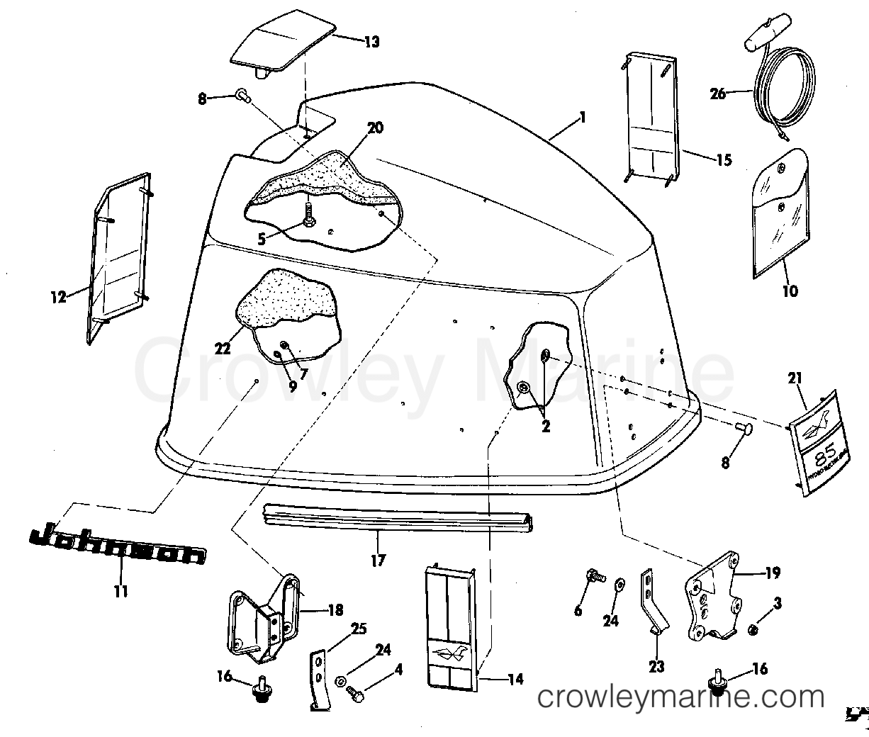 1969 Johnson Outboards 85 - 85ESL69E MOTOR COVER GROUP section