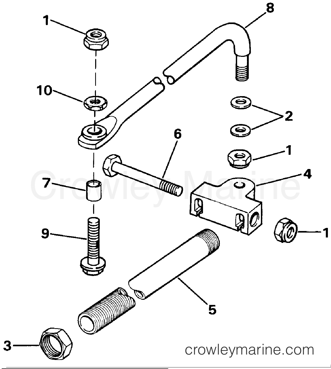 1986 Evinrude Outboards 150 - E150STLCDC DUAL CABLE STEERING CONNECTOR KIT - PARALLEL ENTRY - 200STL section