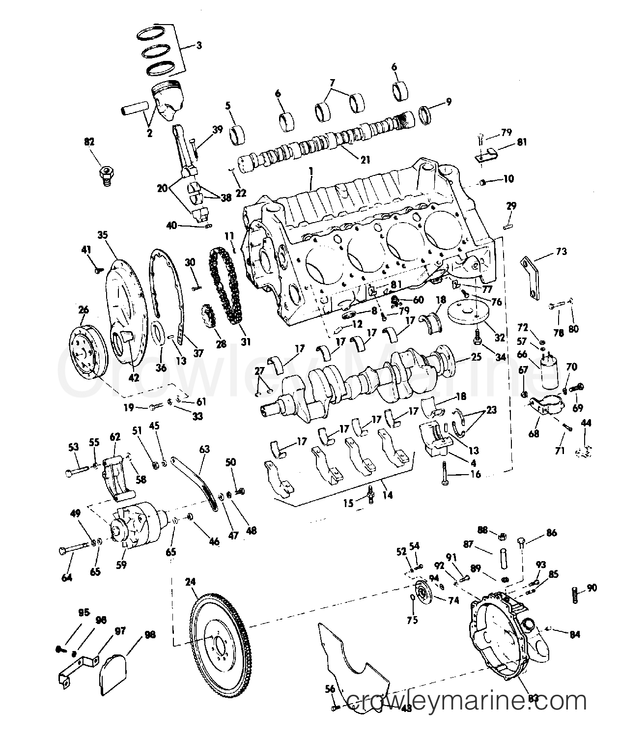 79 Omc Sterndrive Diagram Trusted Wiring 1978 Crankcase Group 185 225 Hp Models Stern Drive 240 990250p Tilt Parts
