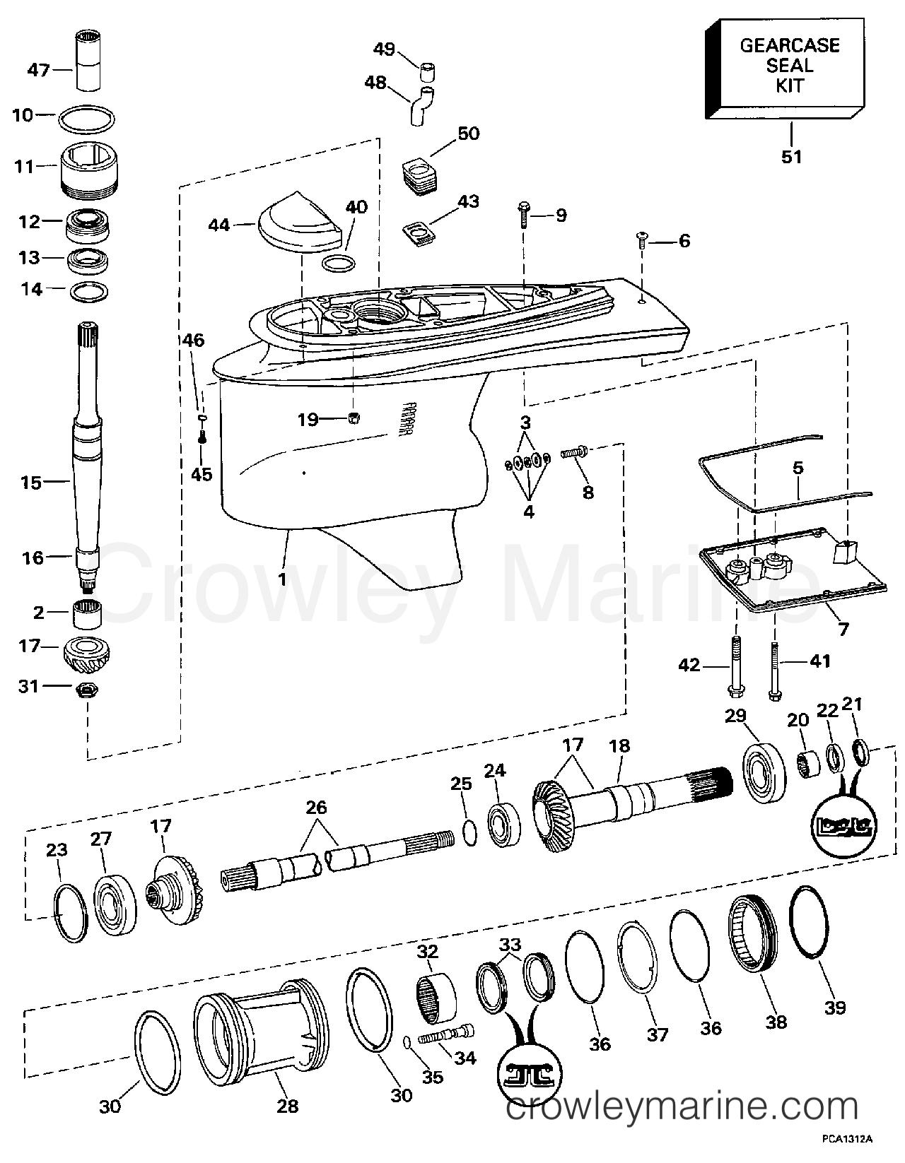 1997 OMC Stern Drive 7.4 - 744FPLKD LOWER GEARCASE - DUAL PROP section