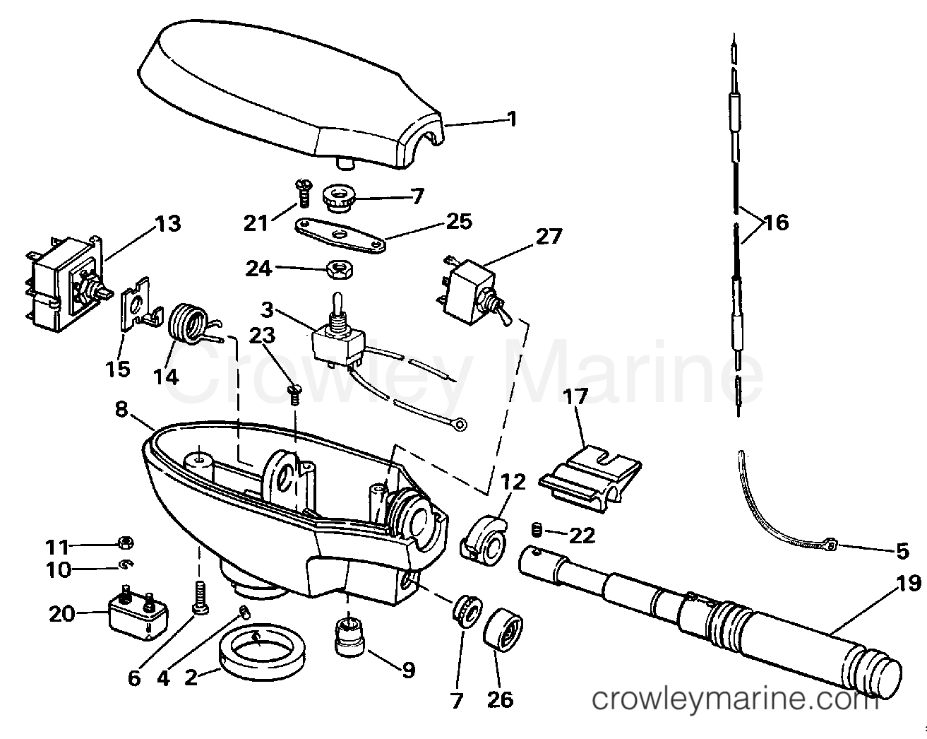 "1990 Electric Motors 24 Volt - BF4K - CONTROL HOUSING GROUP\HAND STEERING (""K"" MODEL SUFFIX) section"