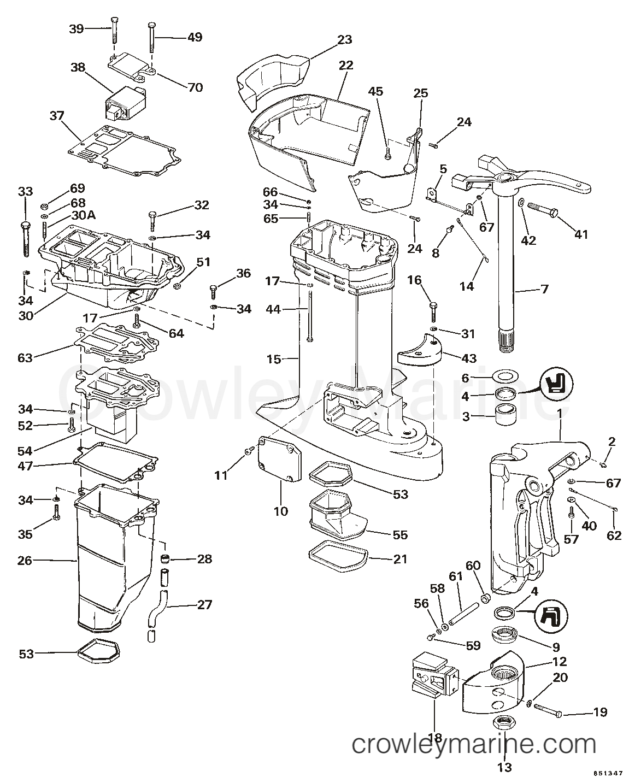 1985 OMC Sea Drive 2.6L - Hydraulic - XL - 1AALCOM - MID-SECTION