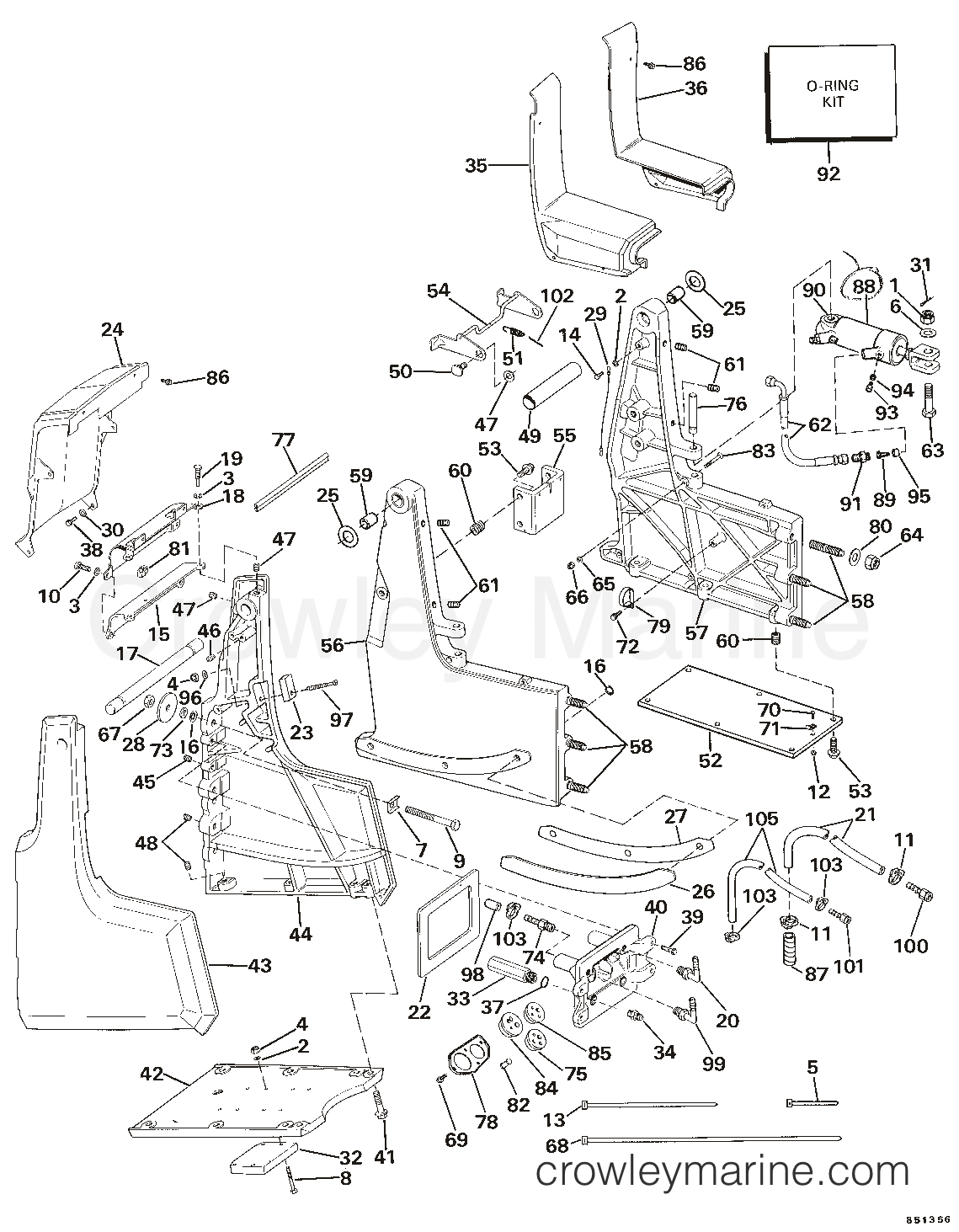 Omc Steering Diagram Schematic Diagrams 2 5l Wiring Transom Bracket Assembly Hydraulic 1985 Sea Drive Power Parts