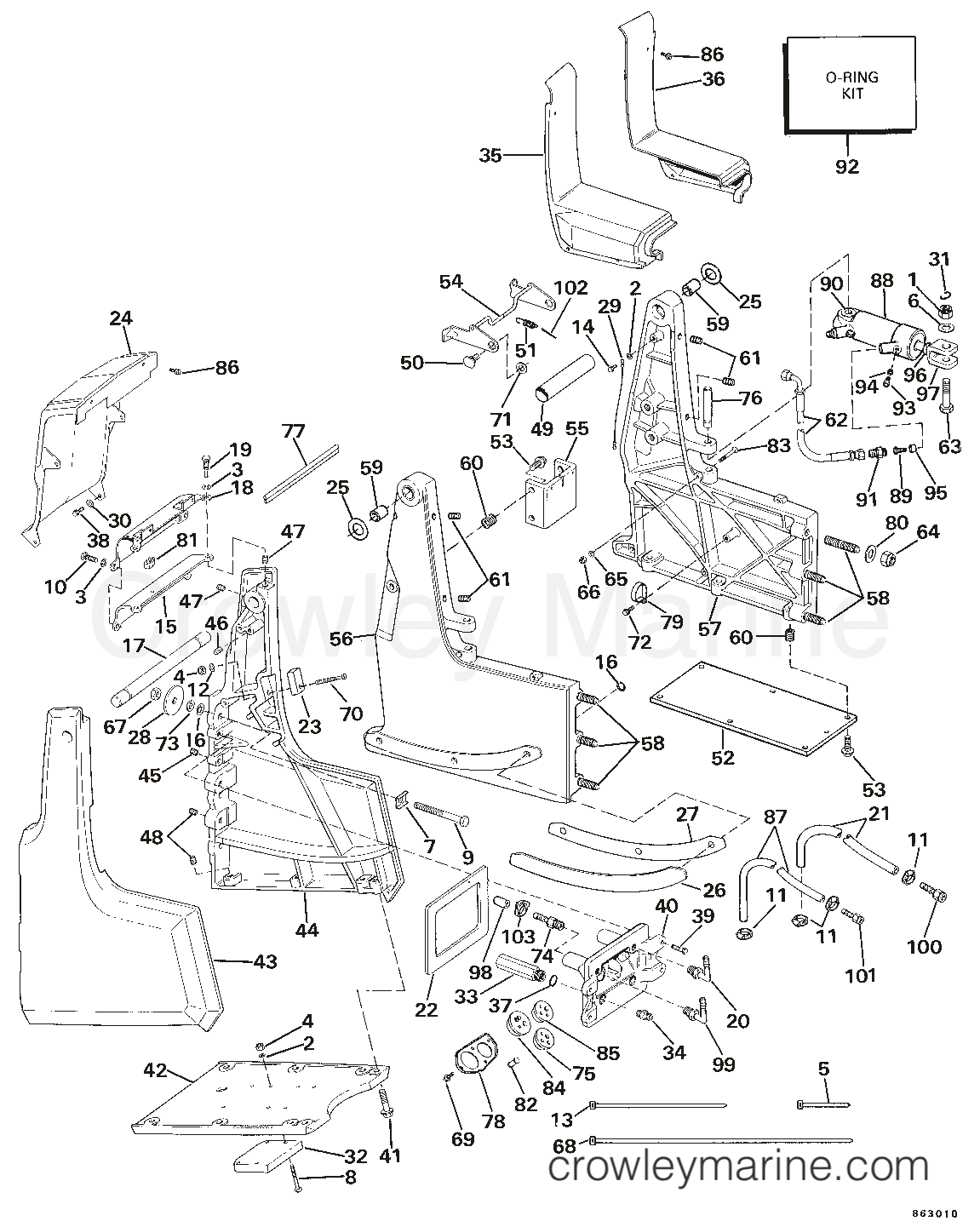 Omc Sea Drive Wiring Diagram Schematic Diagrams Shifter Transom Bracket Assembly Hydraulic Steering 1986