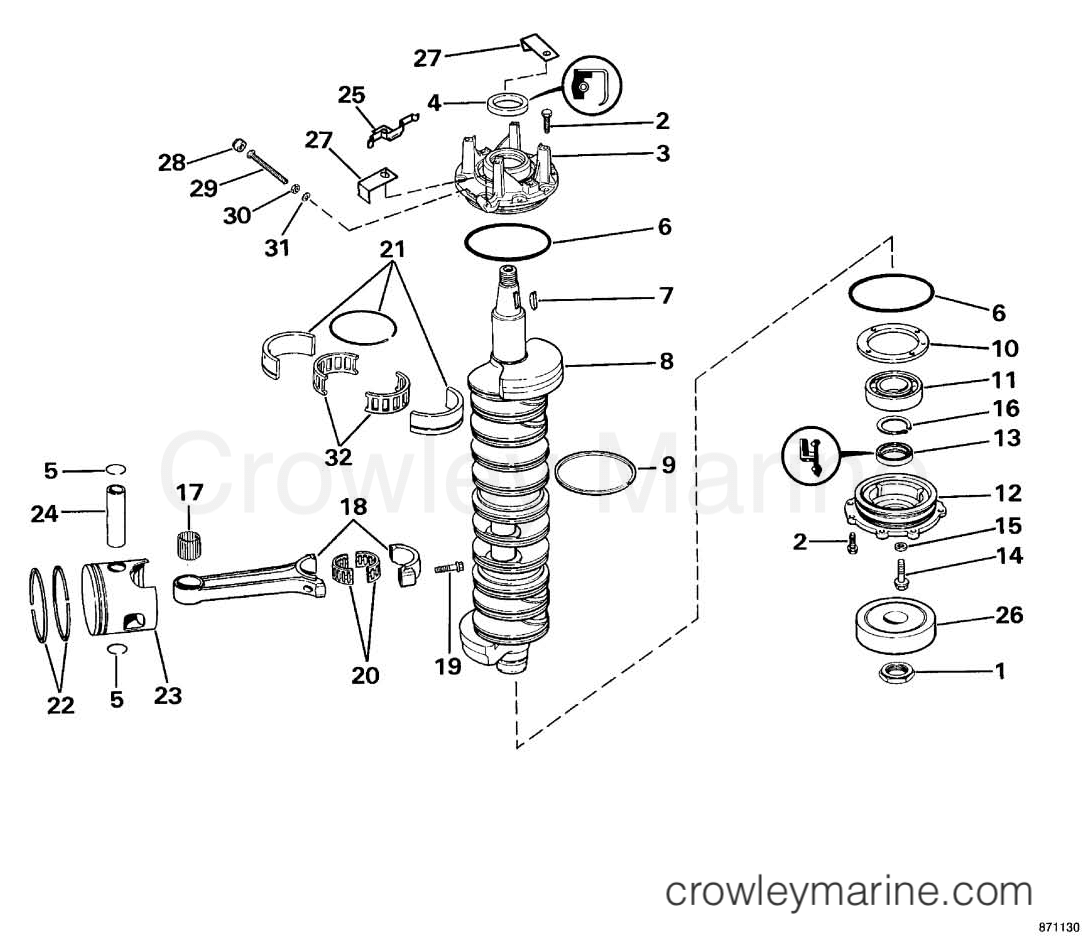 crankshaft piston 1987 omc sea drive 3 6l port engine 36apphd rh crowleymarine com OMC Motor Diagram OMC Motor Diagram