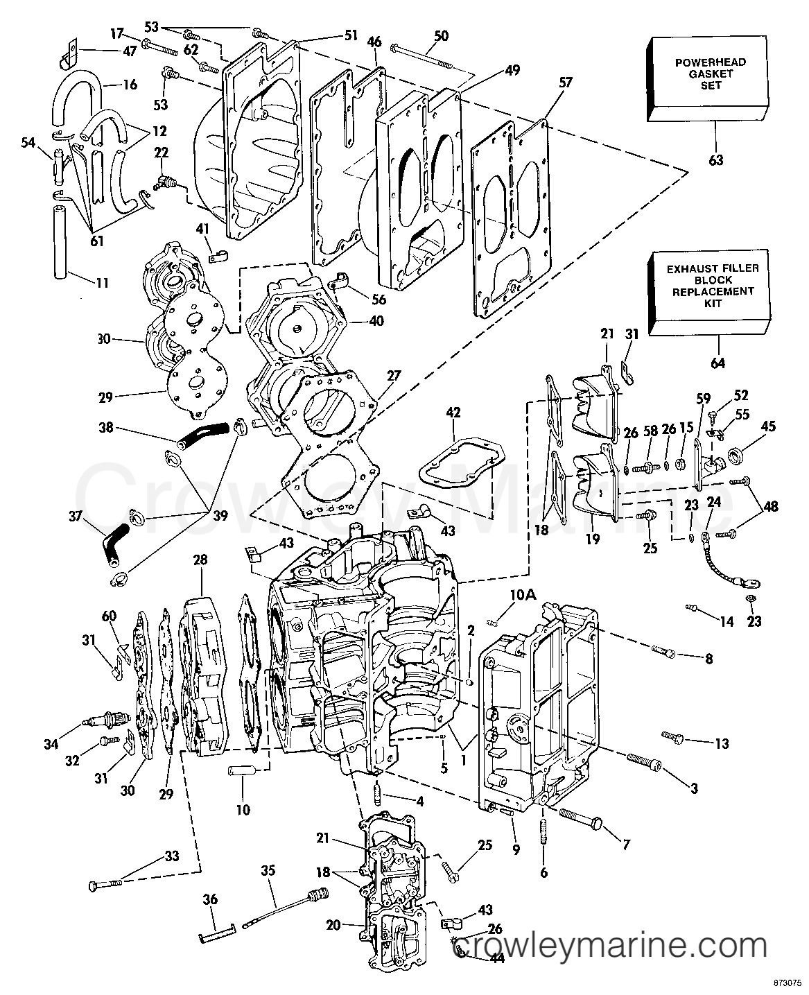 omc cobra engine wiring diagram best wiring library 1959 Red Corvette cylinder crankcase 1987 omc sea drive 1 6 mechanical 16 hd rh crowleymarine omc cobra engine