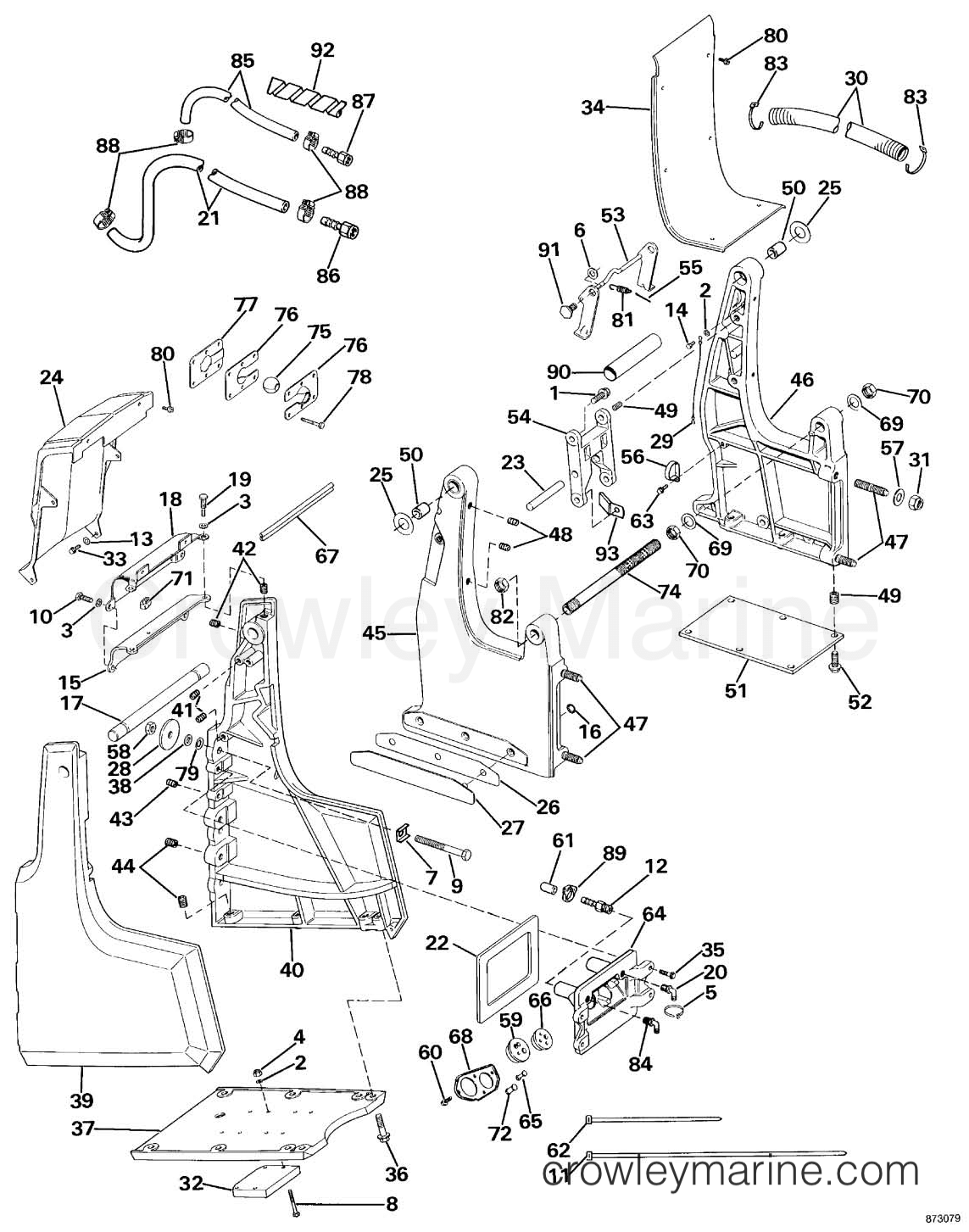 Omc Sea Drive Wiring Diagram Trusted Diagrams Transom Bracket Assembly Mechanical Steering 1988 1972 50 Hp Evinrude