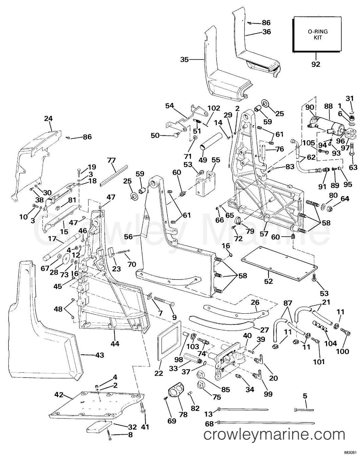 transom bracket assembly hydraulic steering 1989 omc sea drive rh crowleymarine com OMC Key Switch Wiring Diagram Johnson Outboard Tachometer Wiring Diagram