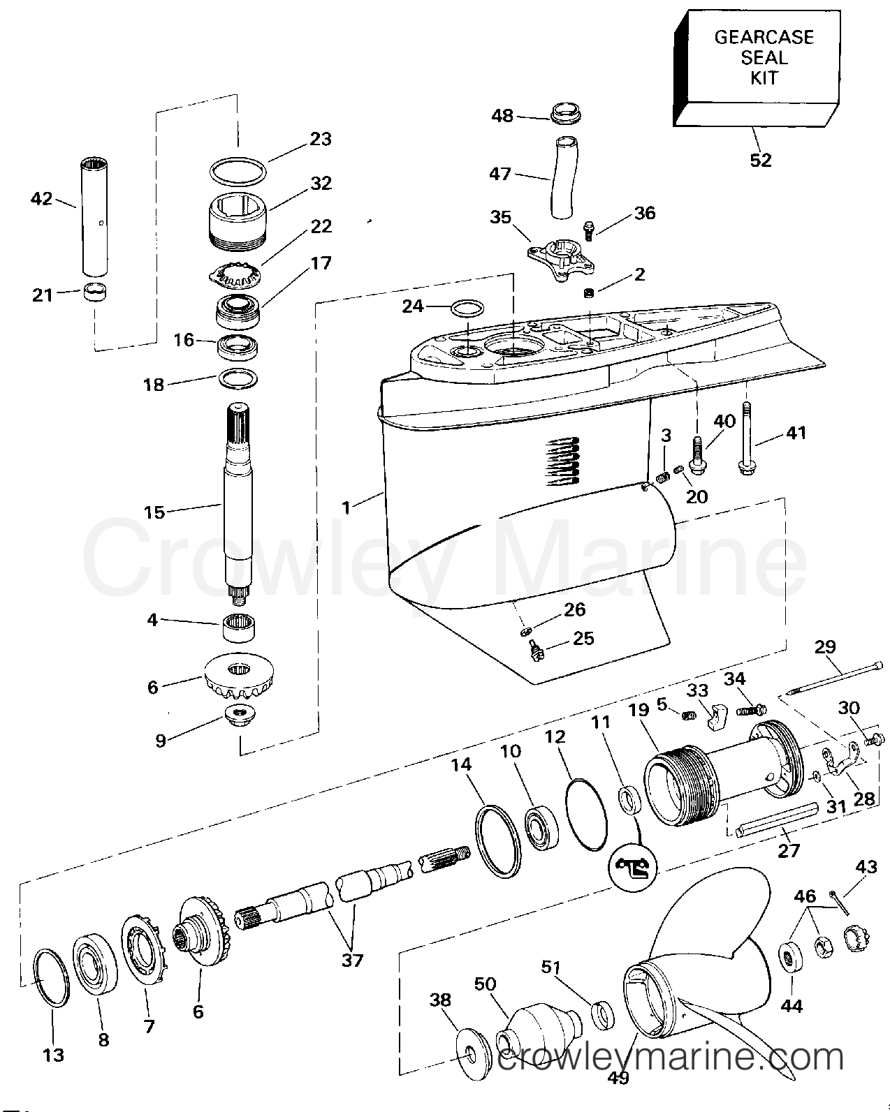 1994 OMC Stern Drive 7.4 - 744DJPMDA - LOWER GEARCASE