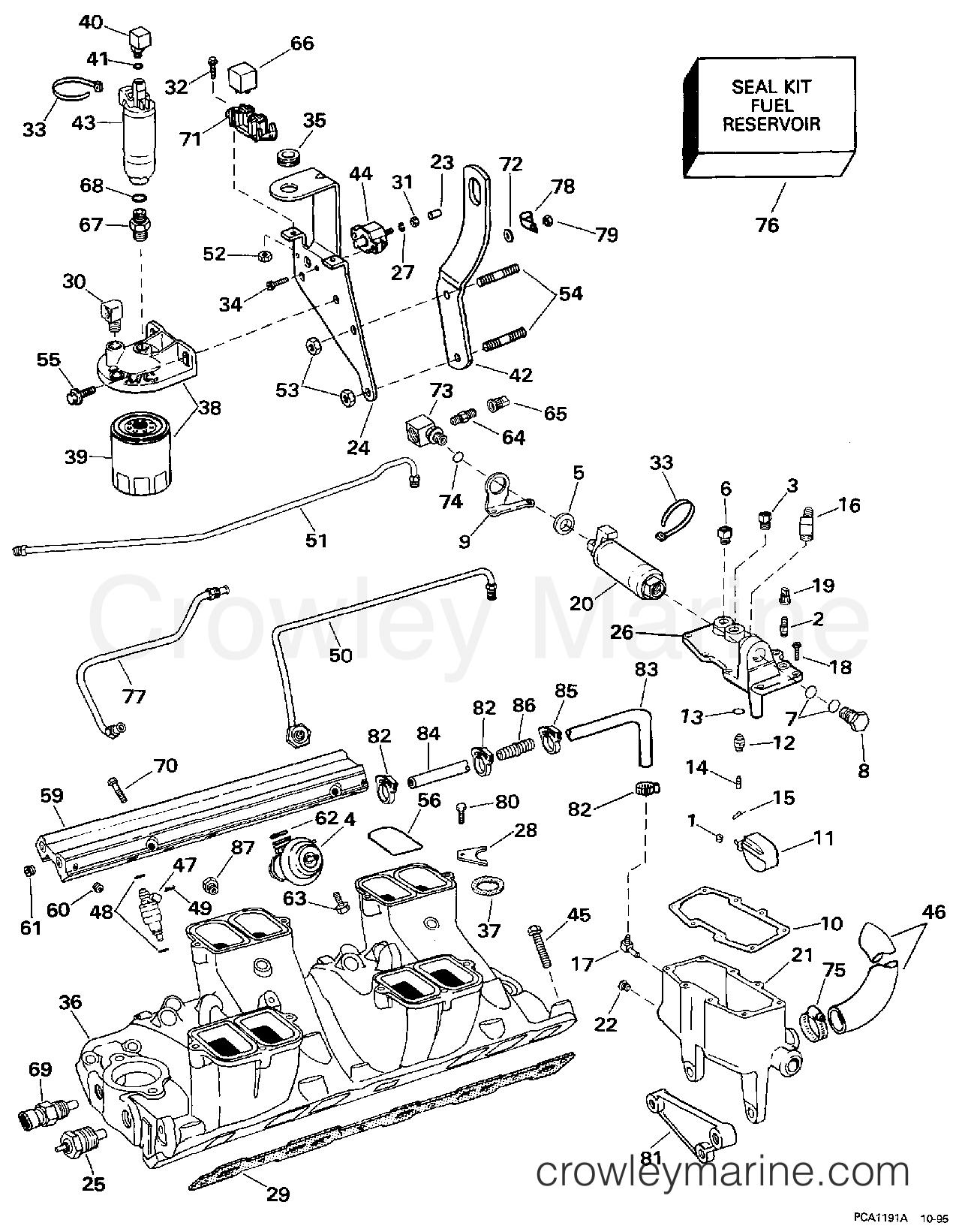 1997 OMC Stern Drive 7.4 - 744FPLKD FUEL SYSTEM & LOWER INTAKE MANIFOLD - MPFI MODELS section