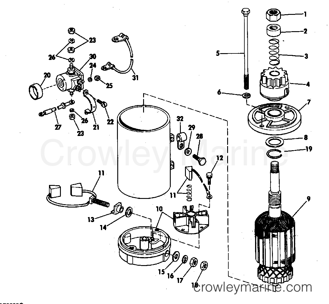 1981 Evinrude Outboards 140 - E140MLCIH ELECTRIC STARTER & SOLENOID AMERICAN BOSCH 17916-20-M030SM section