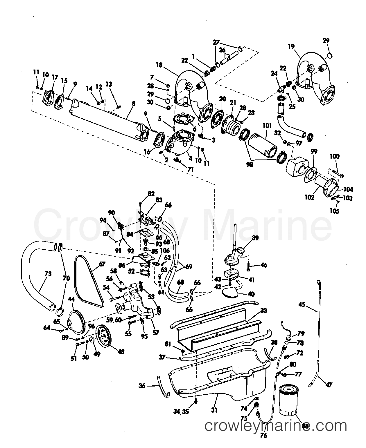 Omc Cooling Diagram Detailed Schematics Chrysler Marine Exhaust Manifold Group 245 Jet Drive 1972 Stern