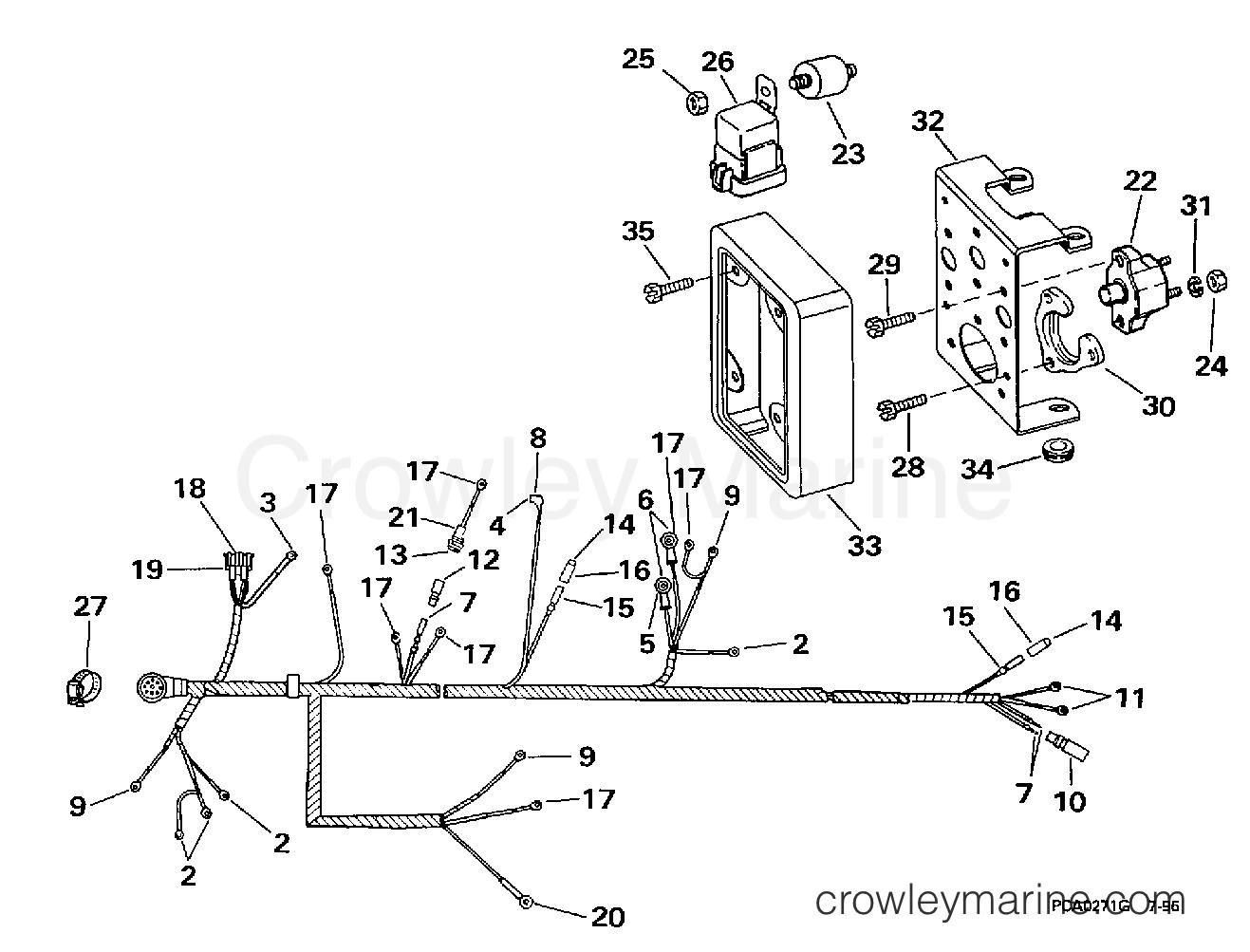1998 OMC Stern Drive 5 - 50FBPBYC ENGINE WIRE HARNESS & BRACKET -- 2V MODELS section