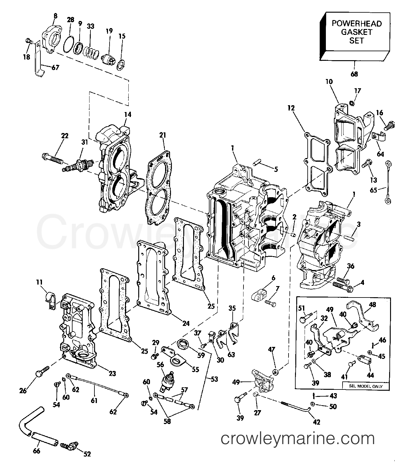 1990 Johnson Outboards 9.9 - TJ10ELESC CYLINDER & CRANKCASE section