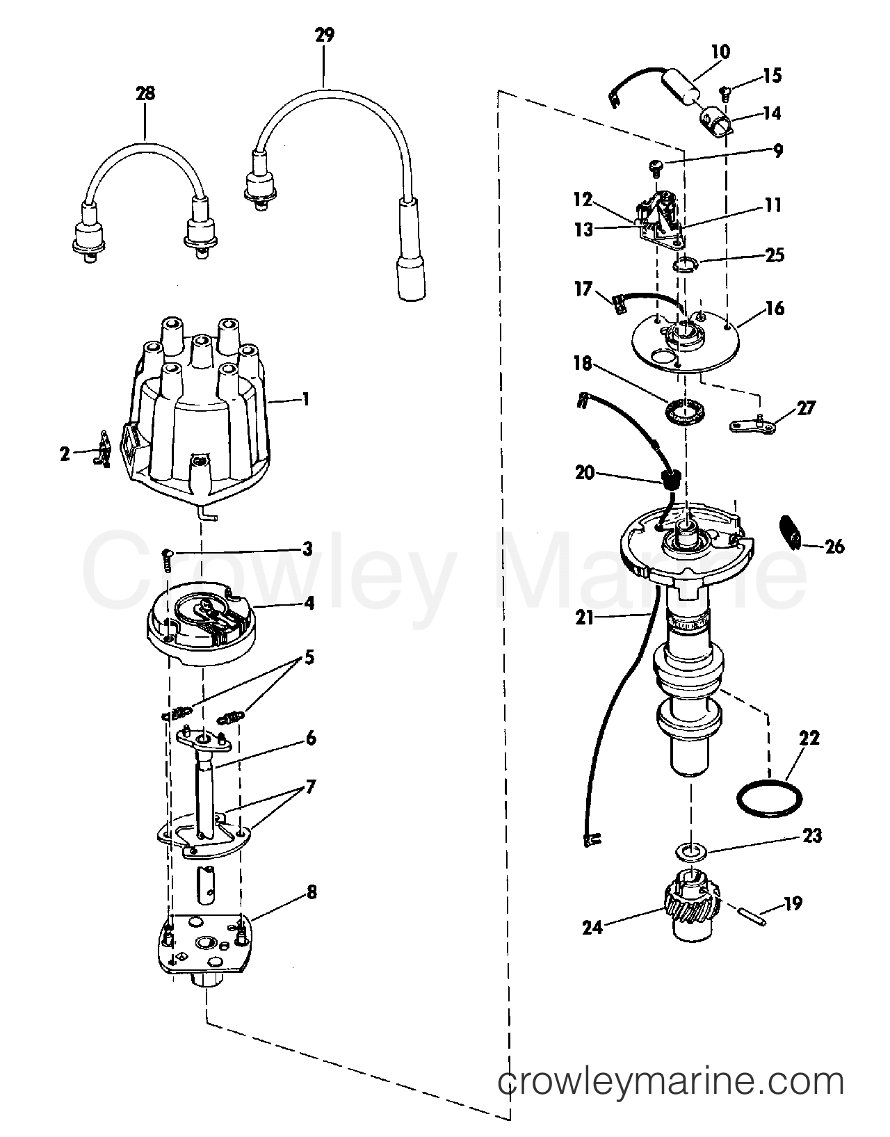Delco Remy Distributor Diagram Detailed Schematics Wiring Group Model 1110376 1968 Omc Stern Drive Part Numbers