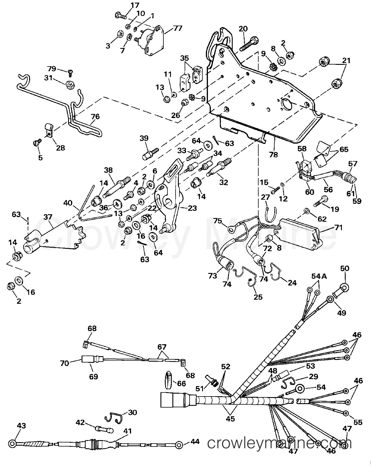 1989 OMC Stern Drive 5.7 - 574AMLMED - WIRE HARNESS, BRACKET & SOLENOID  section
