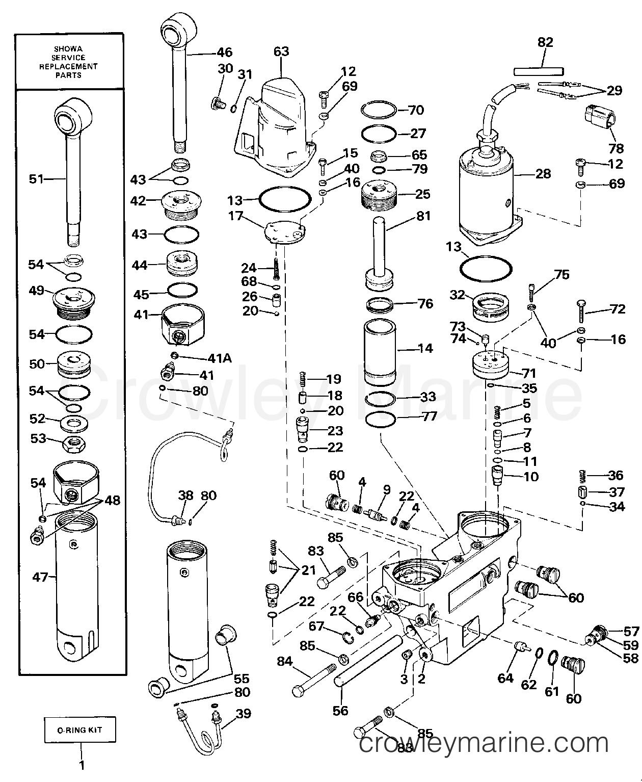 power trim tilt hydraulic assembly 1987 evinrude outboards 90 rh crowleymarine com Fisher Valve Manual Manual Valve Body
