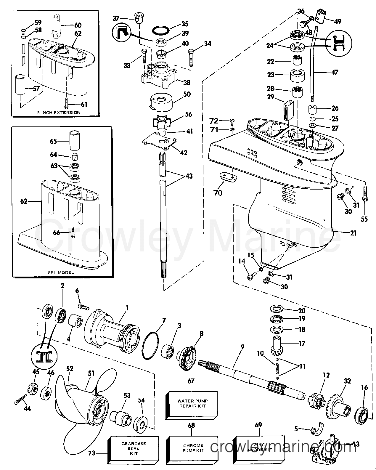 1986 Evinrude Outboards 9.9 - E10ECDB GEARCASE section