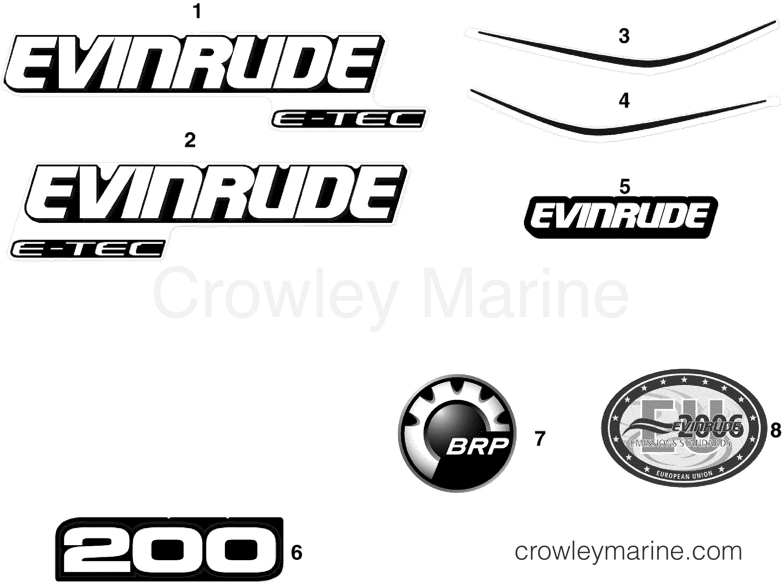 Decals 2007 Evinrude Outboards 200 E200dplsuf Crowley Marine