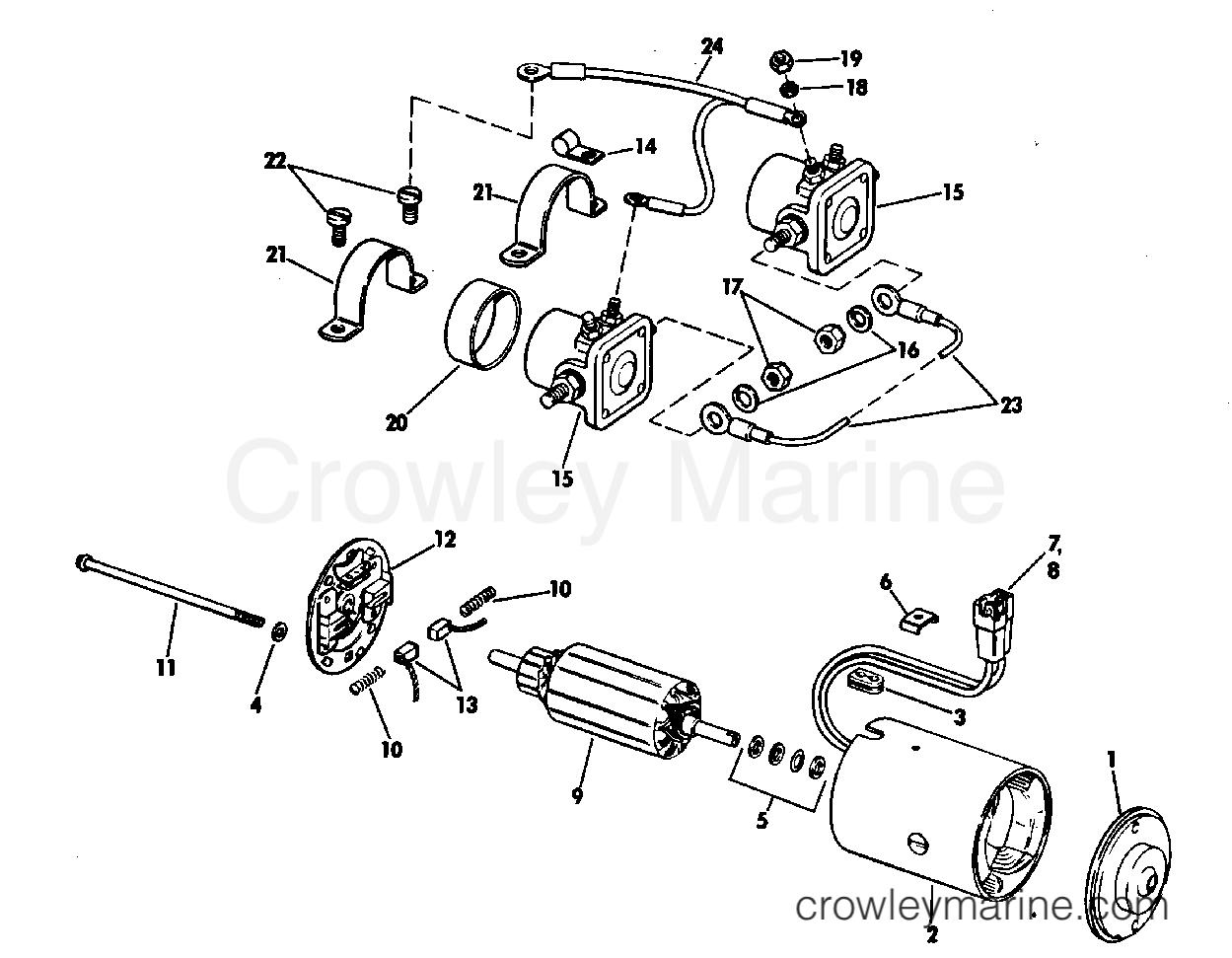1968 OMC Stern Drive 90 - DU-15S TILT MOTOR GROUP PRESTOLITE MODEL ETK-4102 section
