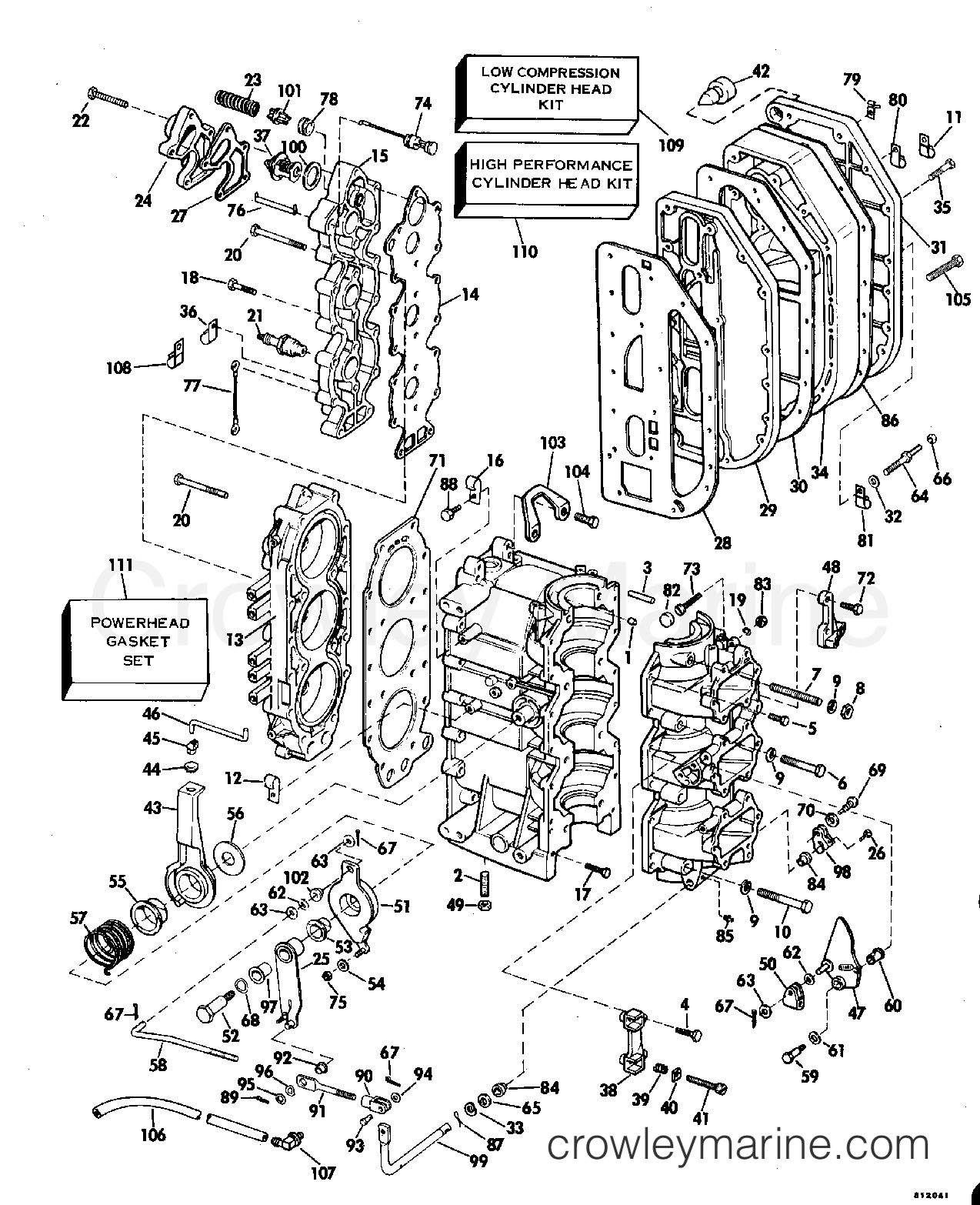 1981 Evinrude Outboards 70 - E70ELCIH CYLINDER & CRANKCASE section