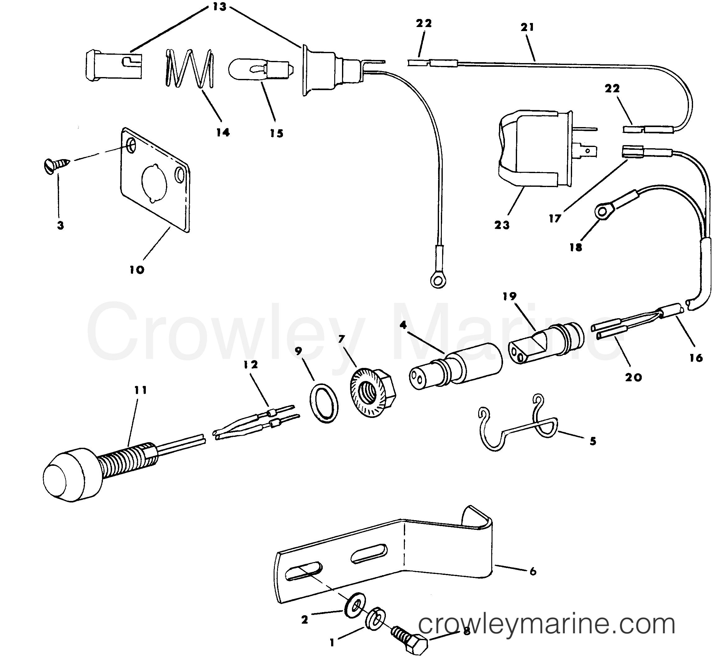 TILT WARNING KIT - 1985 Rigging Parts OMC Stern Drive All Models