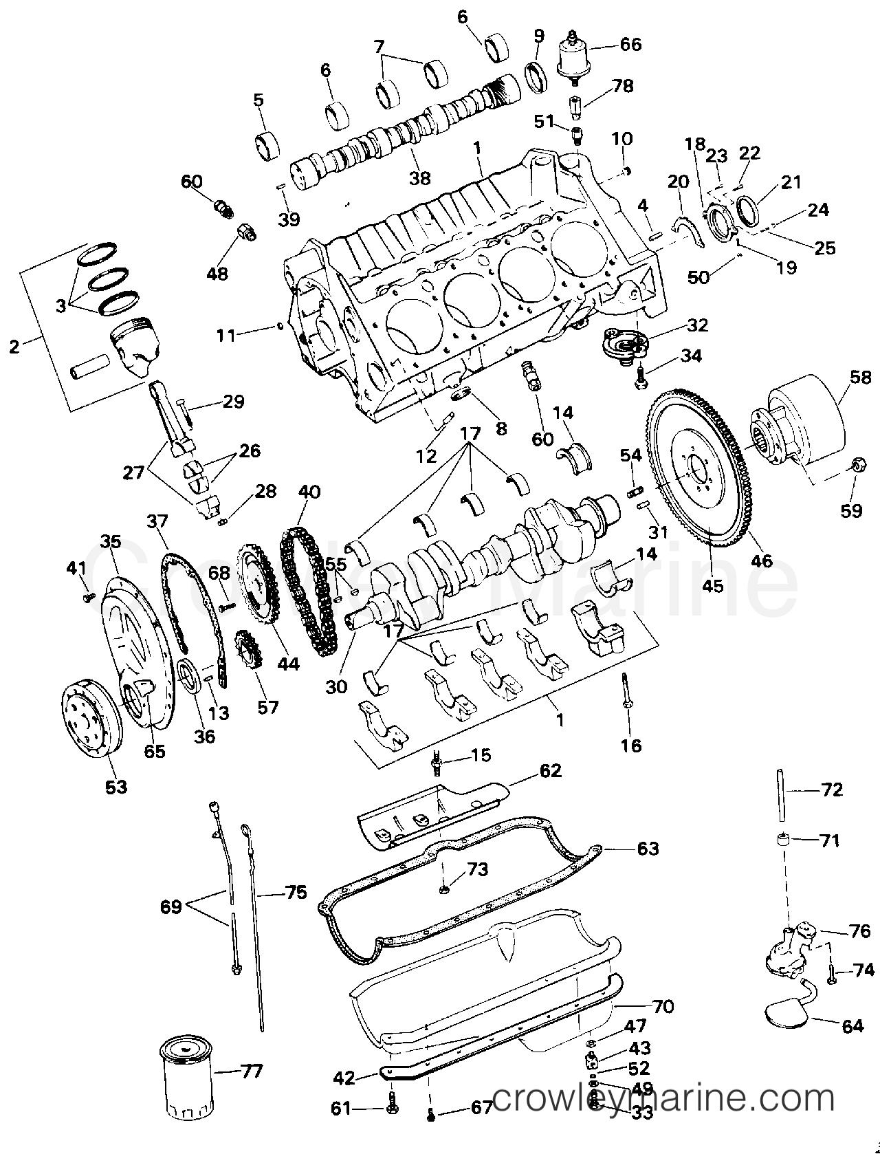 1994 OMC Stern Drive 5.7 - 572AGPMDA - CRANKCASE