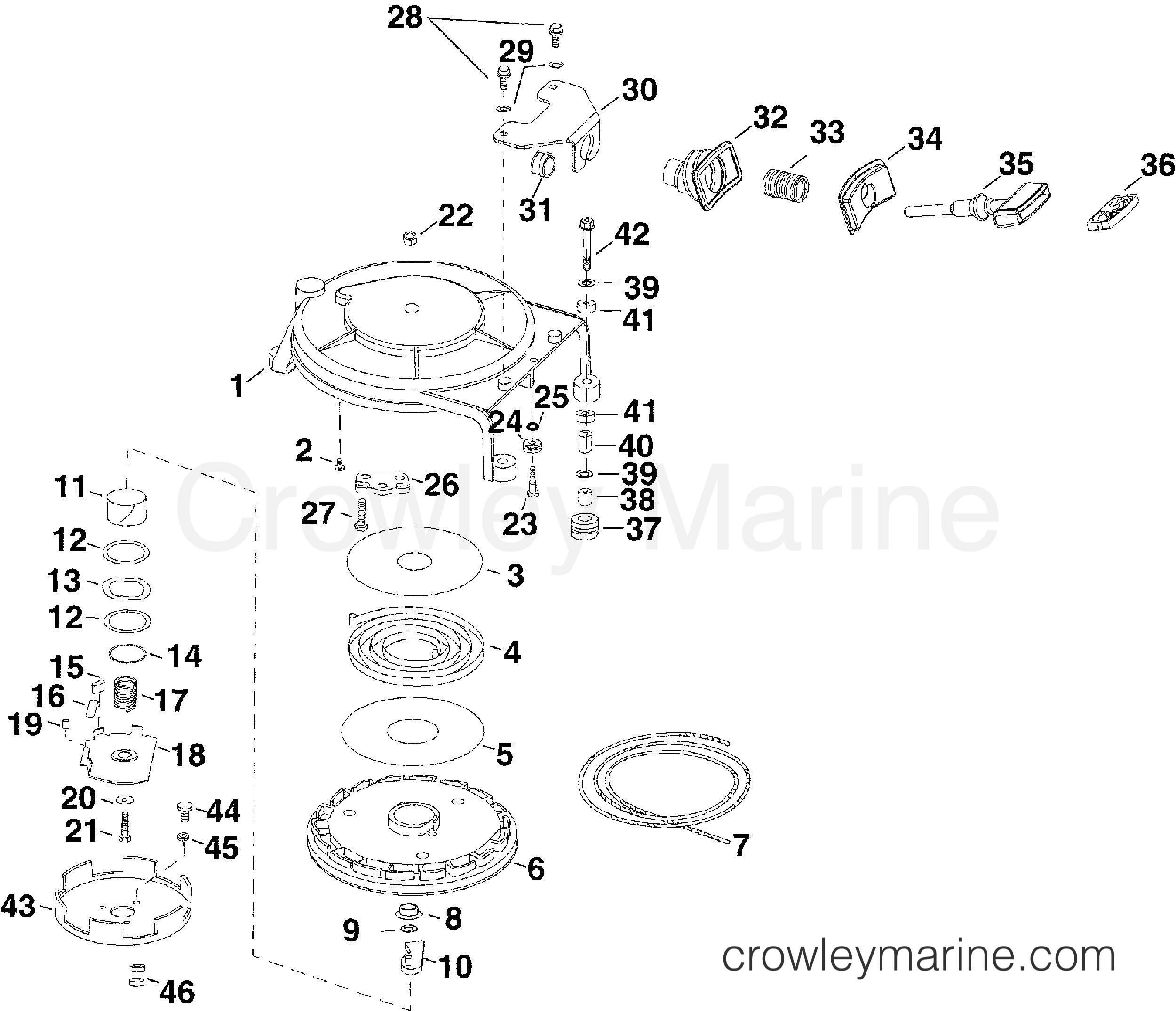 2010 Evinrude Outboards 40 - E40DRLISD RECOIL STARTER section