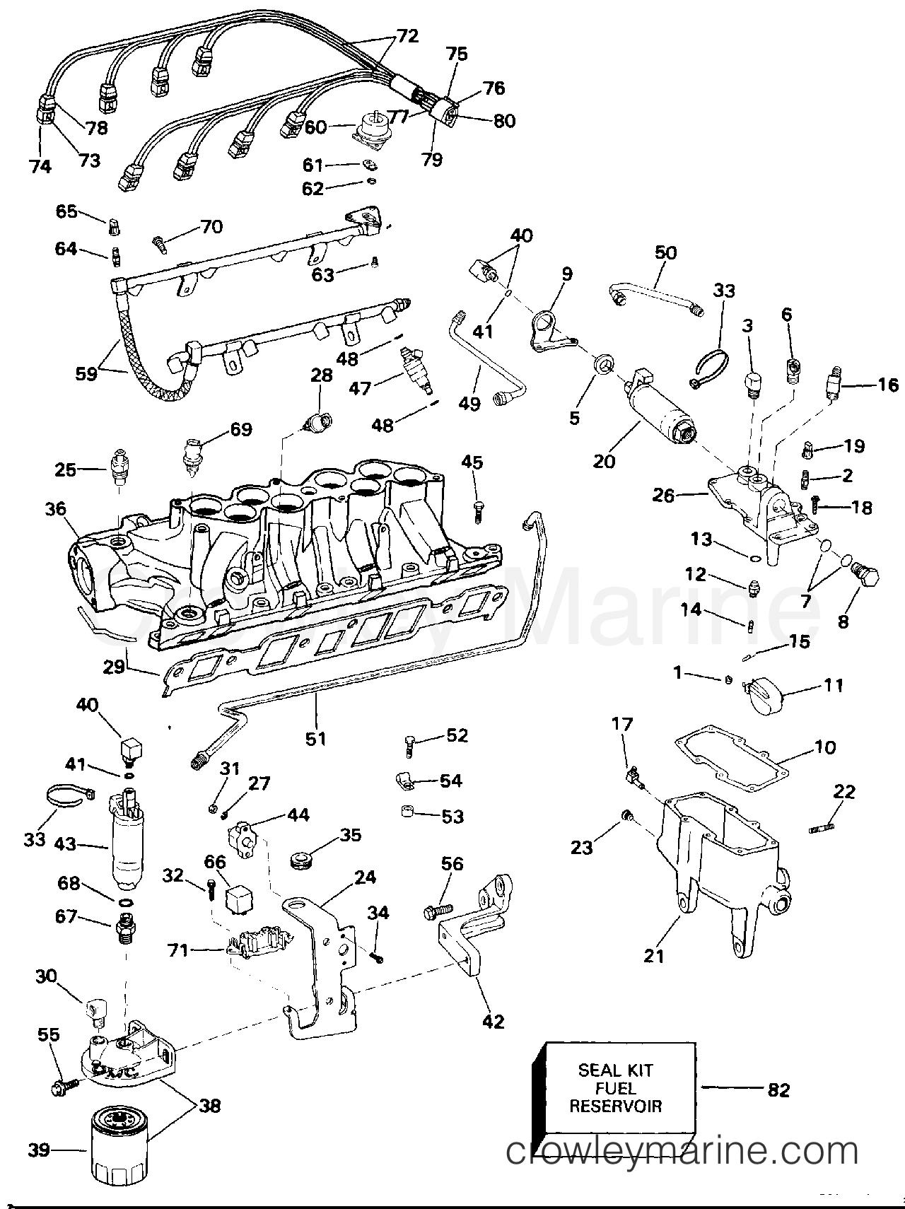 1994 OMC Stern Drive 5.8 - 58FAGPMDM - FUEL SYSTEM & LOWER INTAKE MANIFOLD