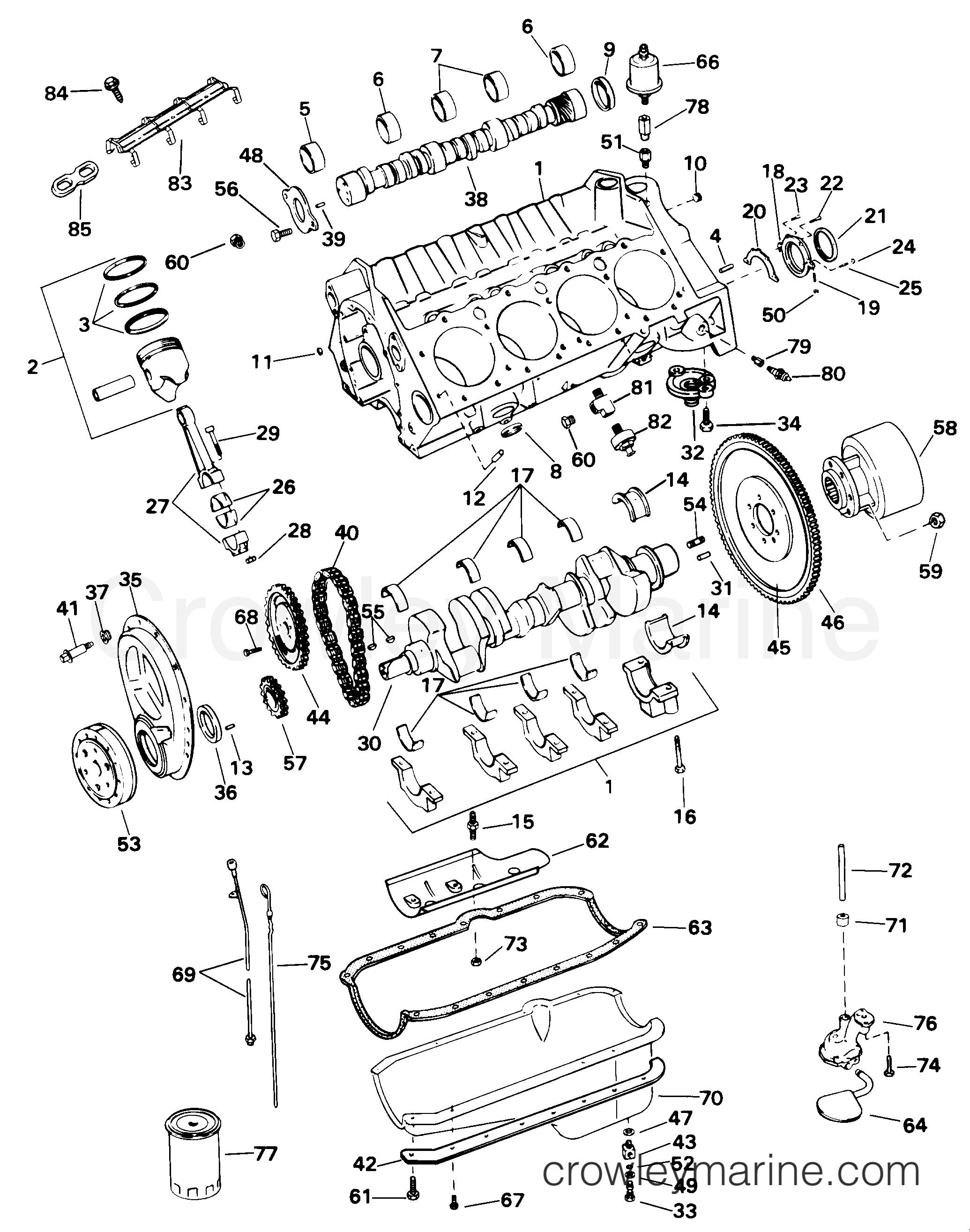 1998 OMC Stern Drive 5 - 50FBPBYC CRANKCASE section