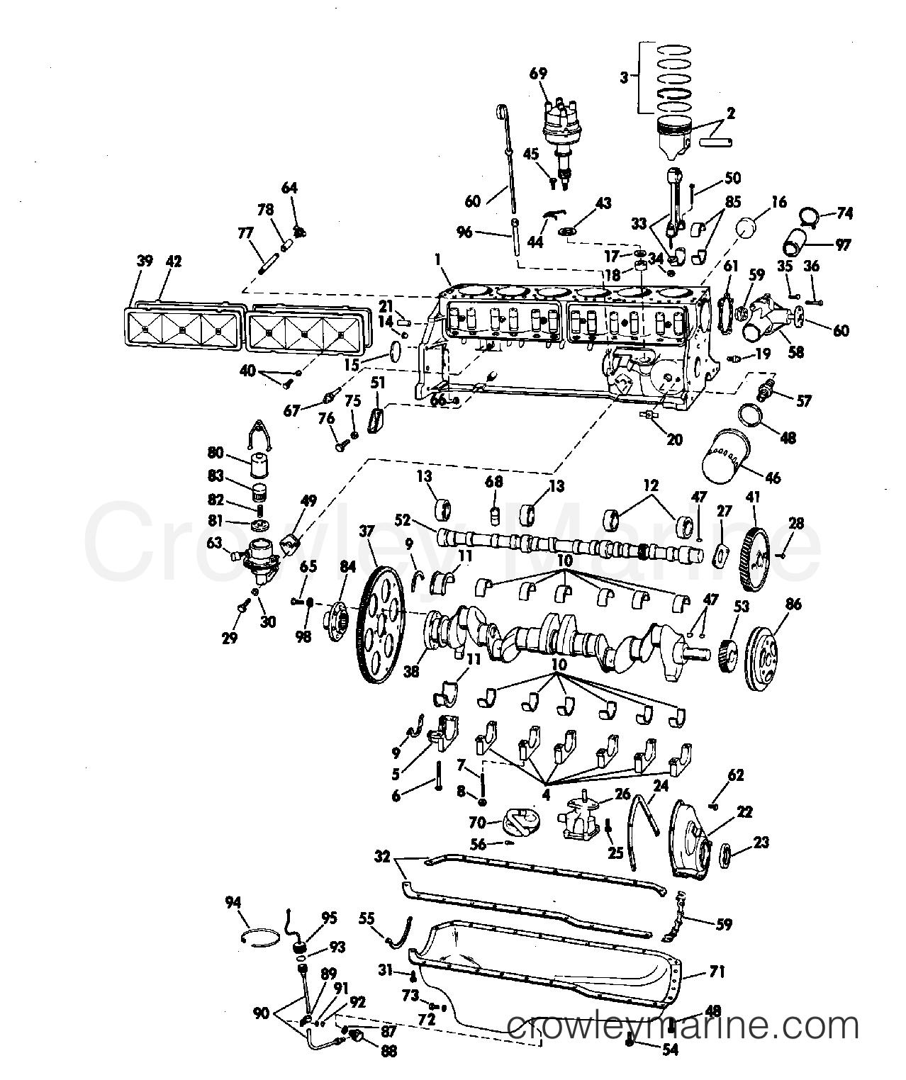 CRANKCASE GROUP 165 HP STERN DRIVE - 1972 OMC Stern Drive ...