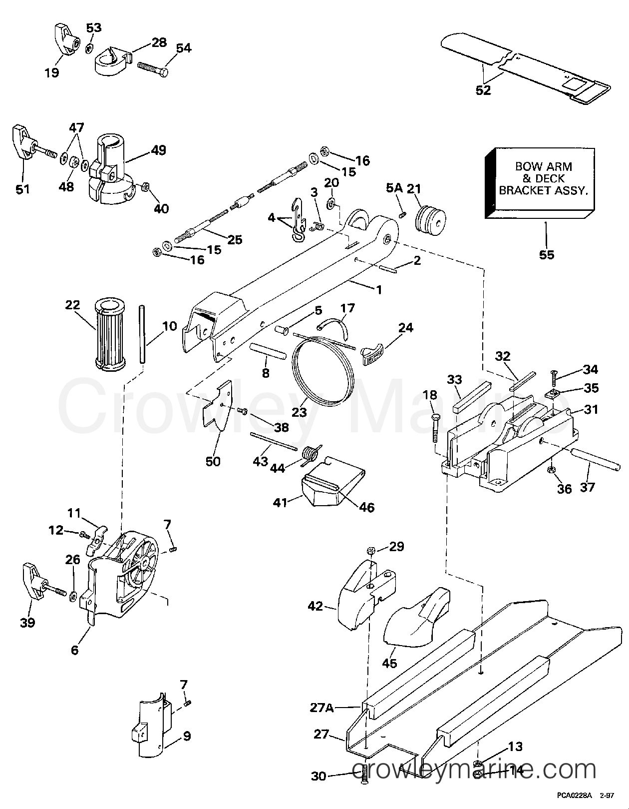 1997 Electric Motors 24 Volt - BF4P - BOW ARM & DECK BRACKET GROUP