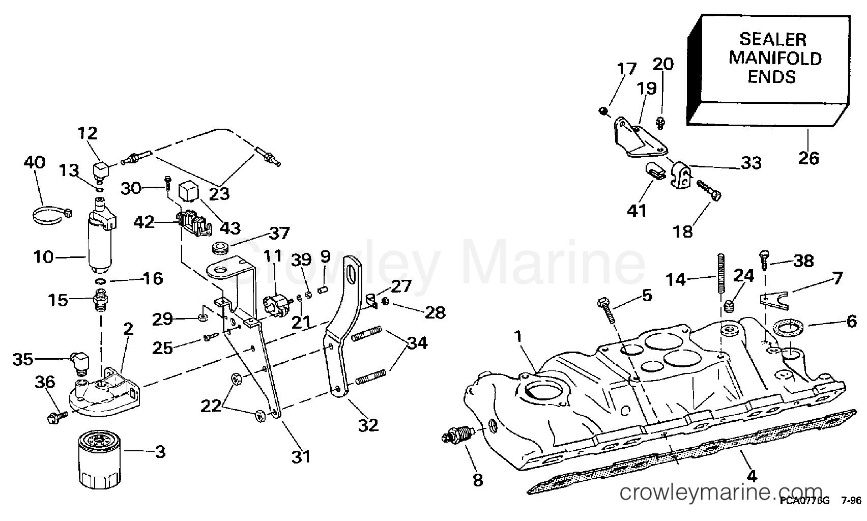 1997 OMC Stern Drive 7.4 - 744FPLKD INTAKE MANIFOLD & FUEL PUMP - 4V MODELS section