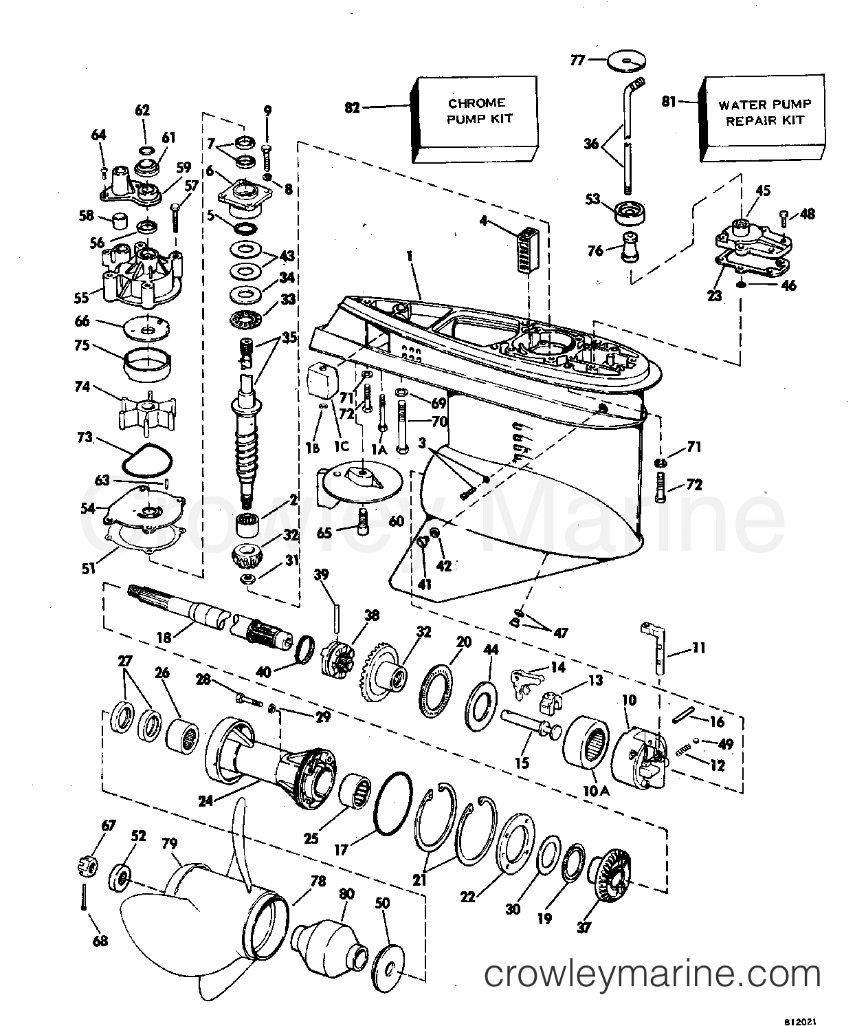 1981 Evinrude Outboards 150 - E150TRLCIA GEARCASE section