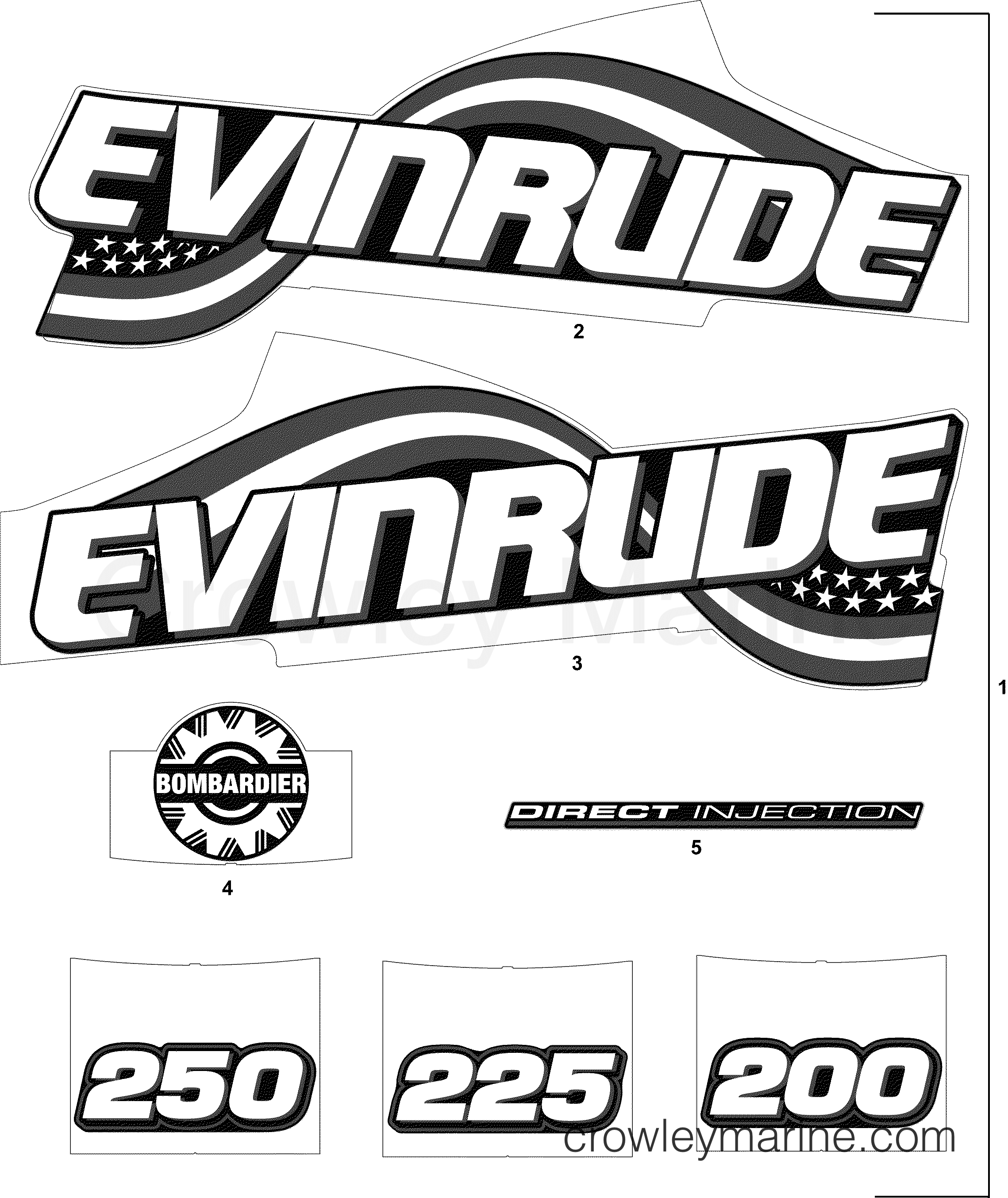 2004 Evinrude Outboards 200 - E200FCXSRB DECAL ACCESSORY SET - BLUE MODELS section