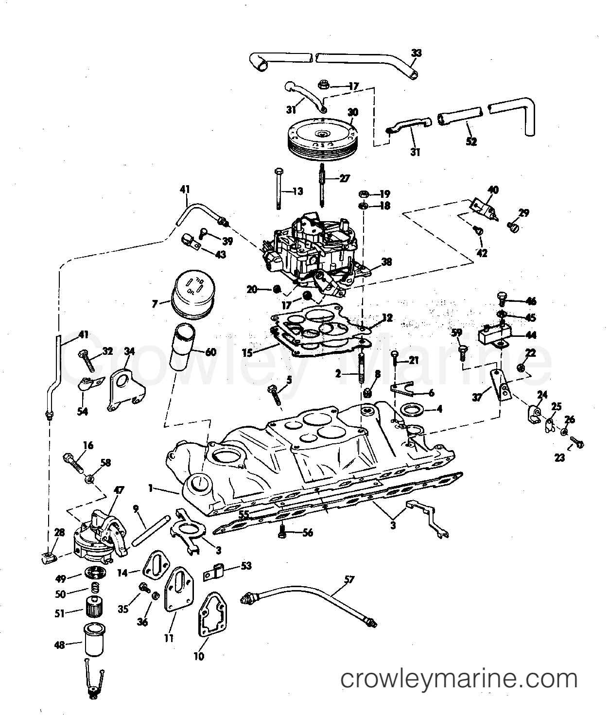 1970 OMC Stern Drive 210 - TUFM-19E INTAKE MANIFOLD, FUEL PUMP, AND CARBURETOR LINES 210 HP section
