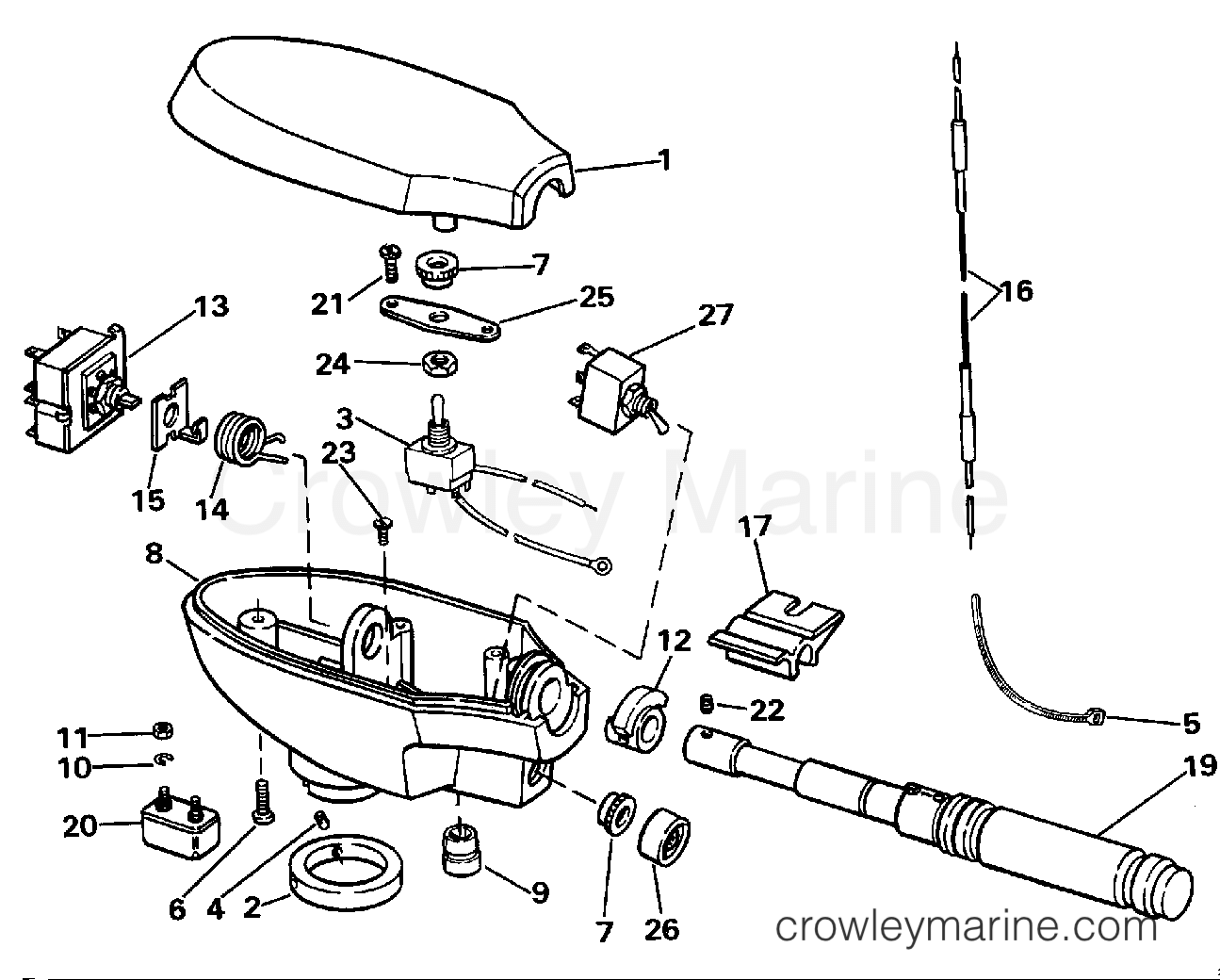 """1990 Electric Motors 12 Volt - JBHL2TY - CONTROL HOUSING GROUP/HAND STEERING (""""A"""" OR """"Y"""" MDL SUFFIX)"""