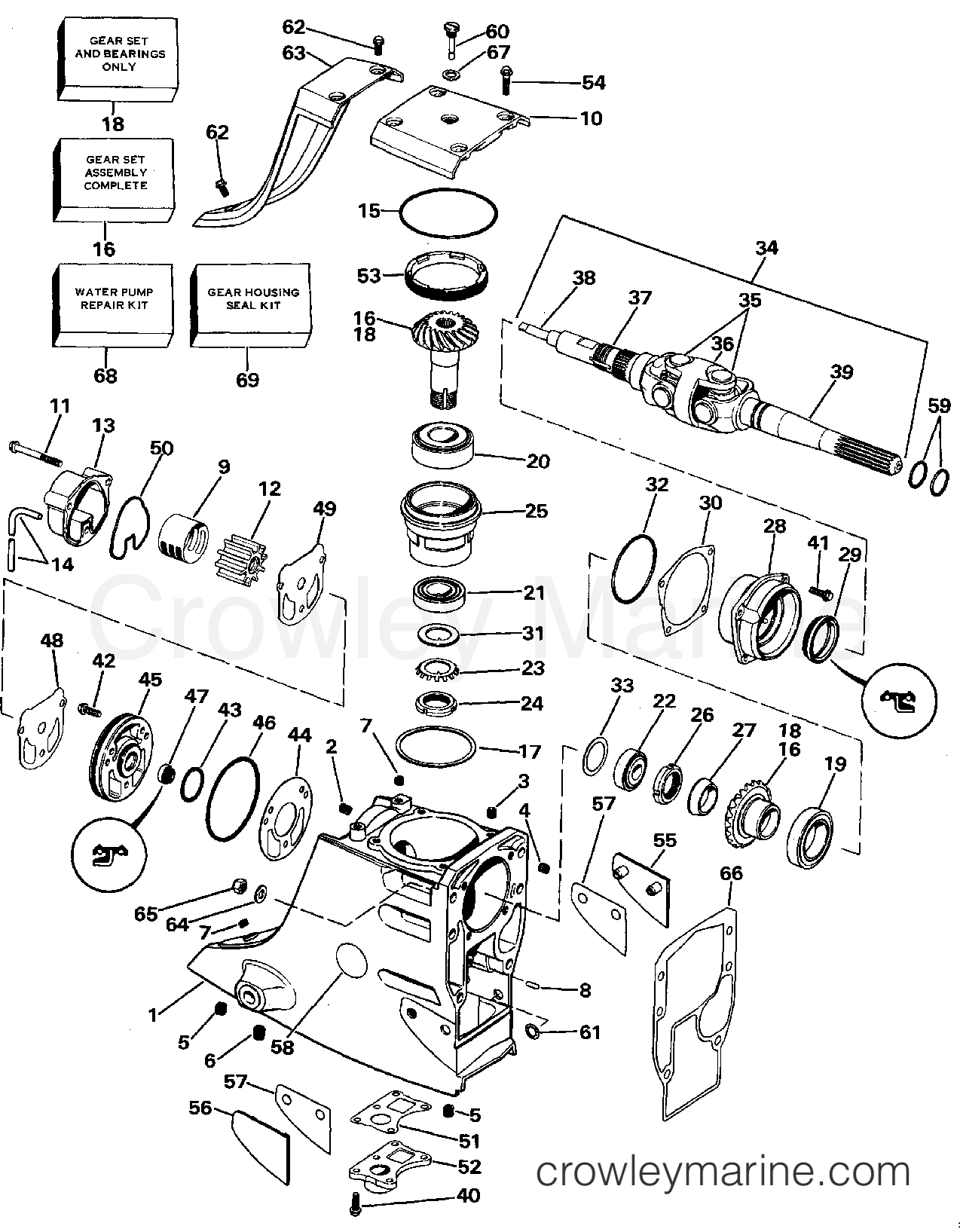 1988 OMC Stern Drive 2.3 - 232AMRGDE UPPER GEAR HOUSING section