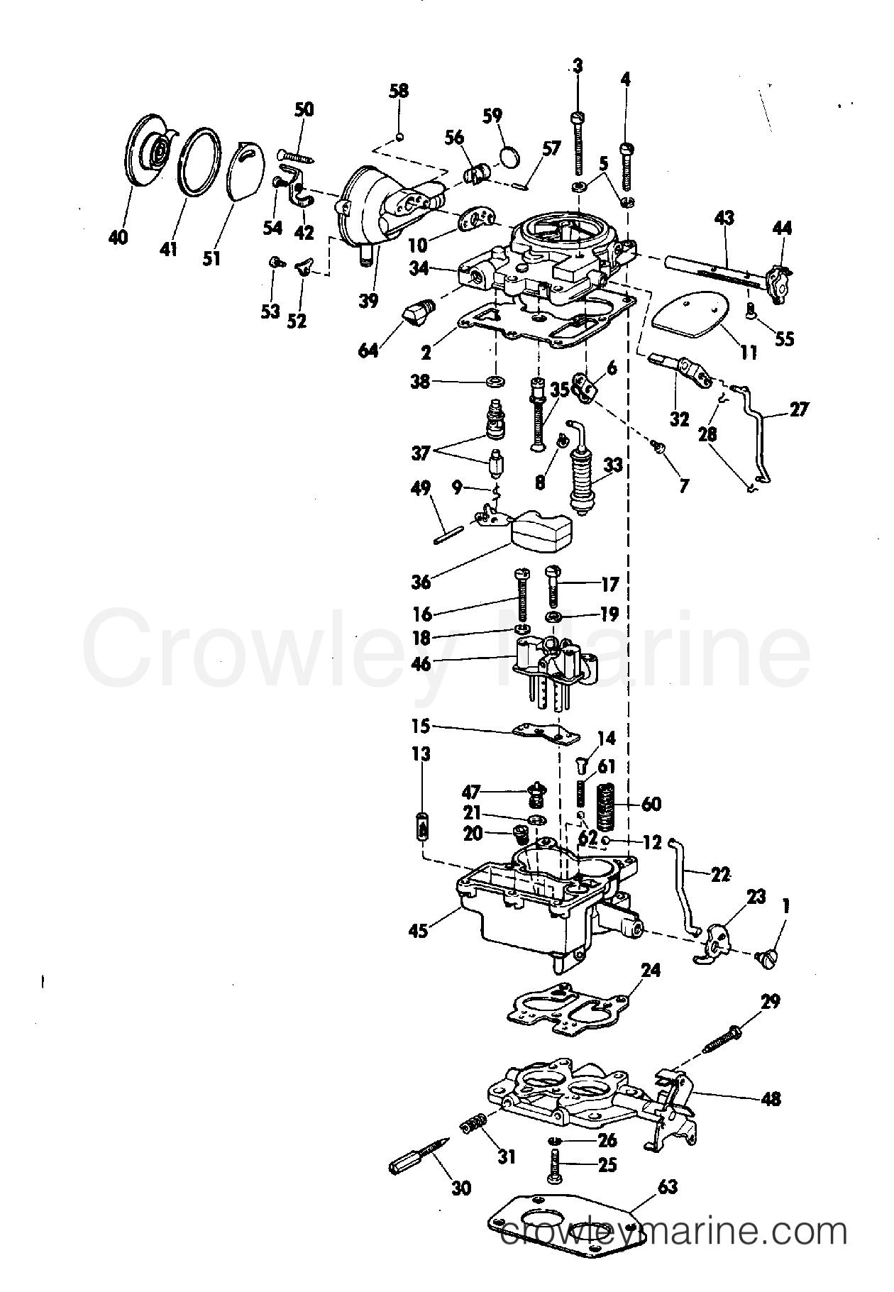 1969 OMC Stern Drive 80 - NUE-10S - CARBURETOR GROUP 80, 155 HP