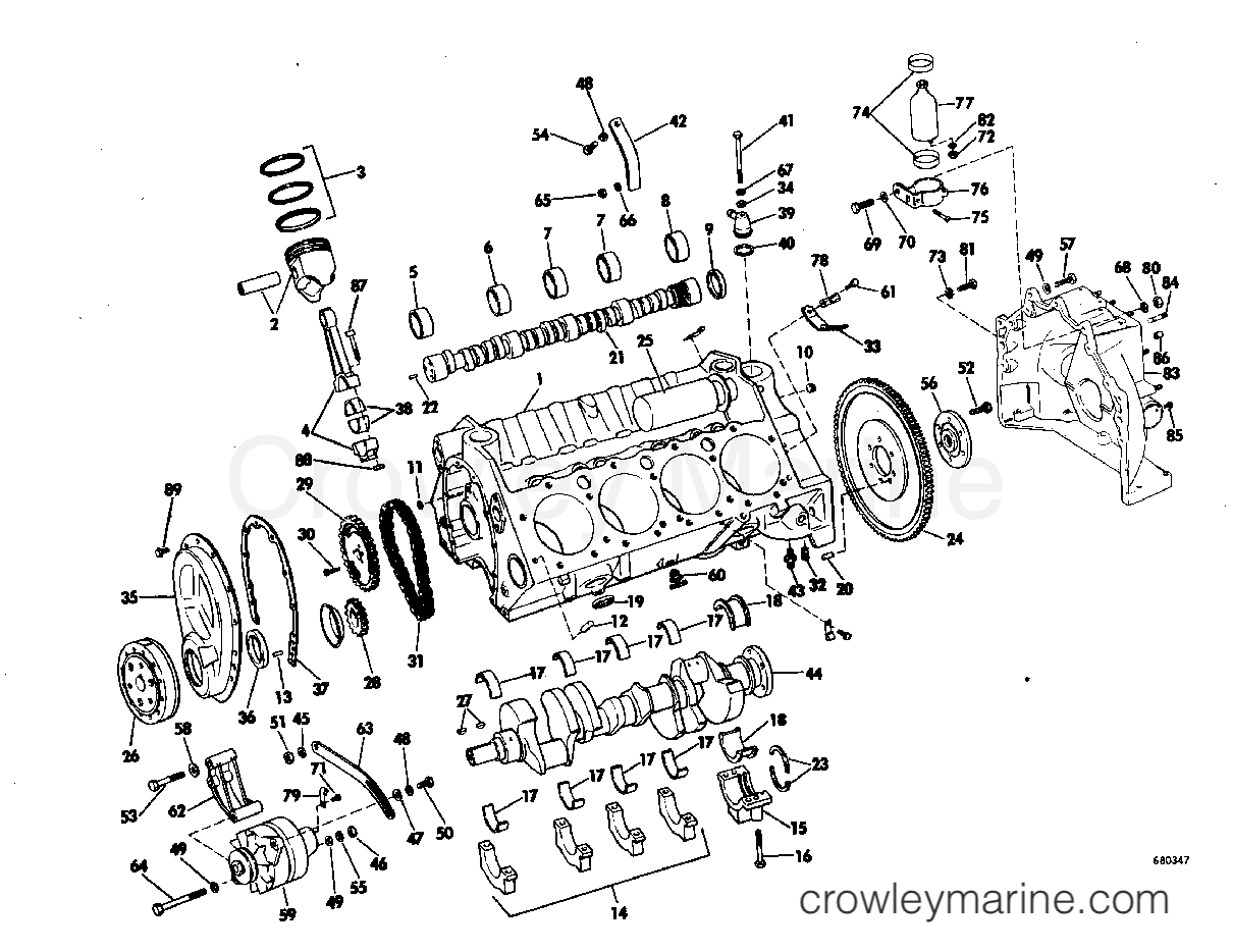crankcase group 1968 omc stern drive 210 tu 17r crowley marine KT Diagram 1968 omc stern drive 210 tu 17r crankcase group section