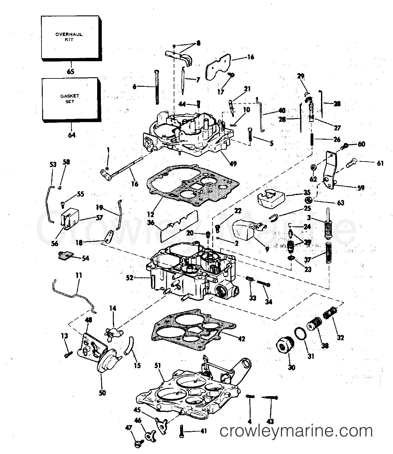 1982 OMC Stern Drive 5 - 504SPMCCNG CARBURETOR GROUP 5.0-4V 5.7 LITRE section