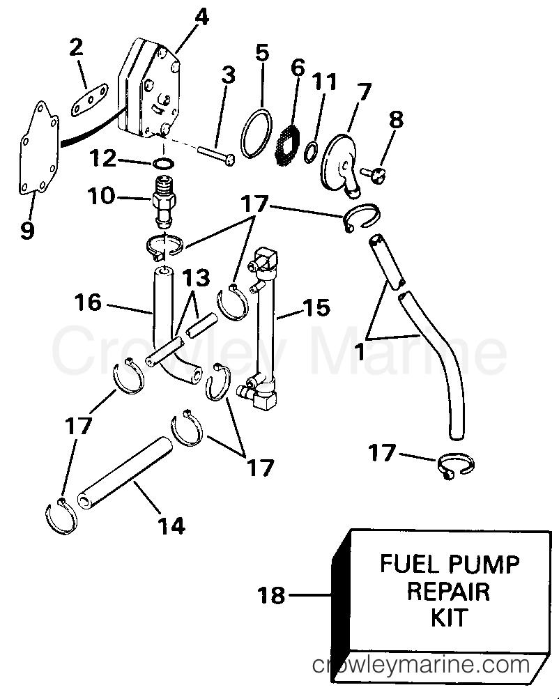Fuel Pump 88 Models 1991 Omc Quiet Rider 115 V115sleie