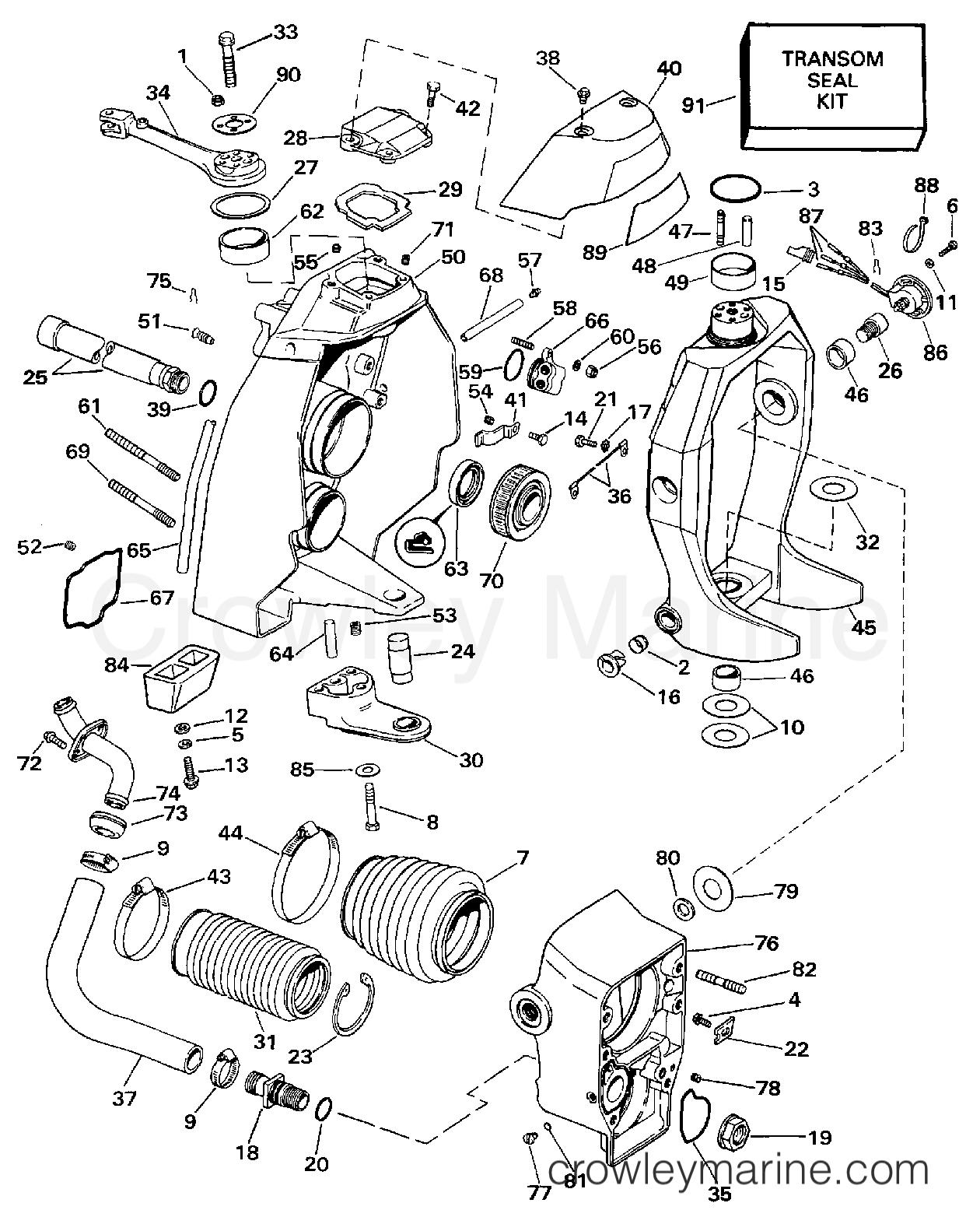 1997 OMC Stern Drive 7.4 - 744FPLKD TRANSOM MOUNT section