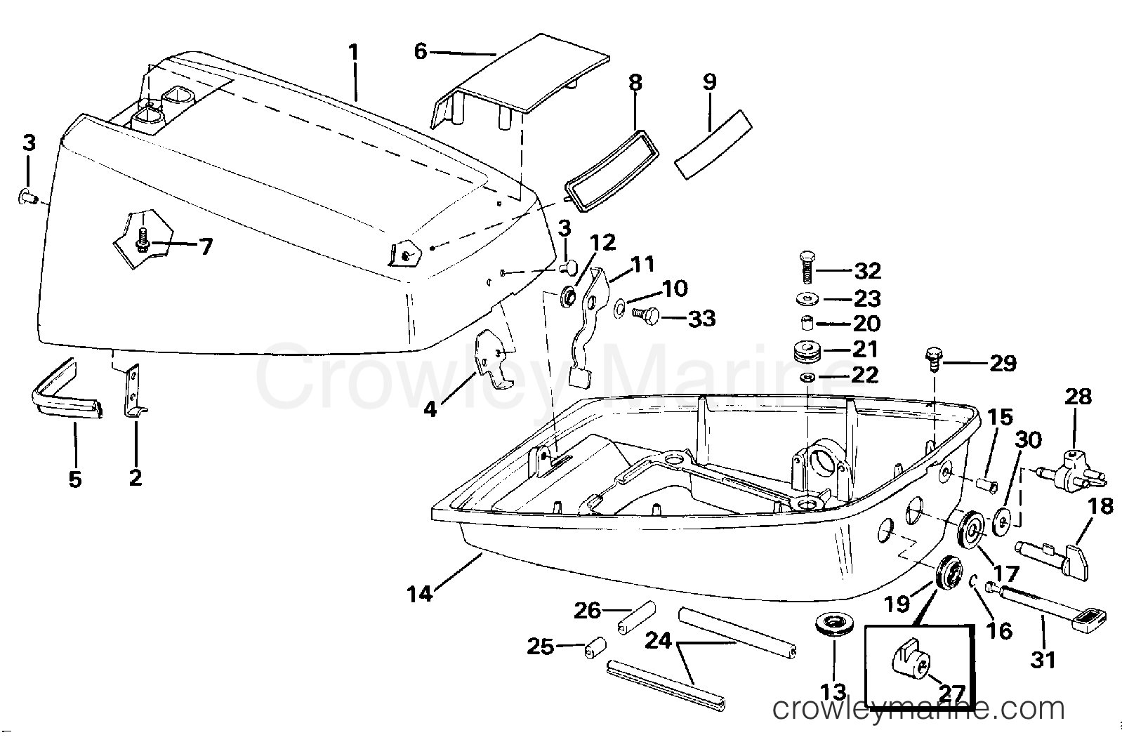engine cover - models with separate fuel tank