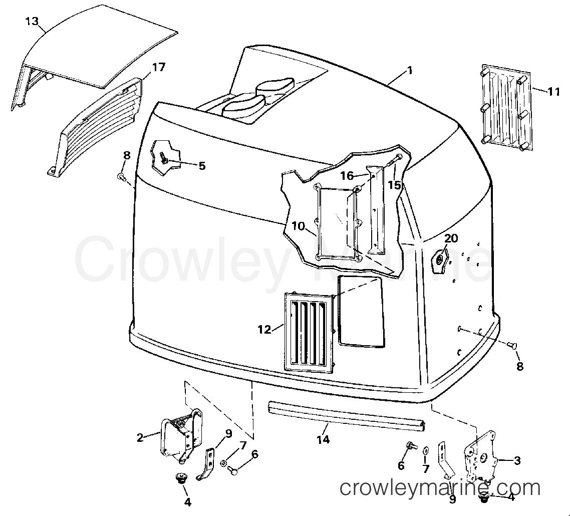 capot moteur - johnson - 200 stl  ve200sl