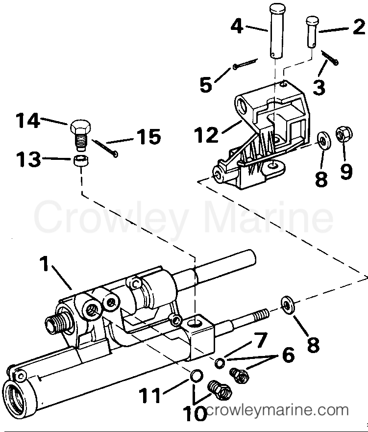 Yamaha Stern Drive Power Steering Cylinder Assembly Diagram And